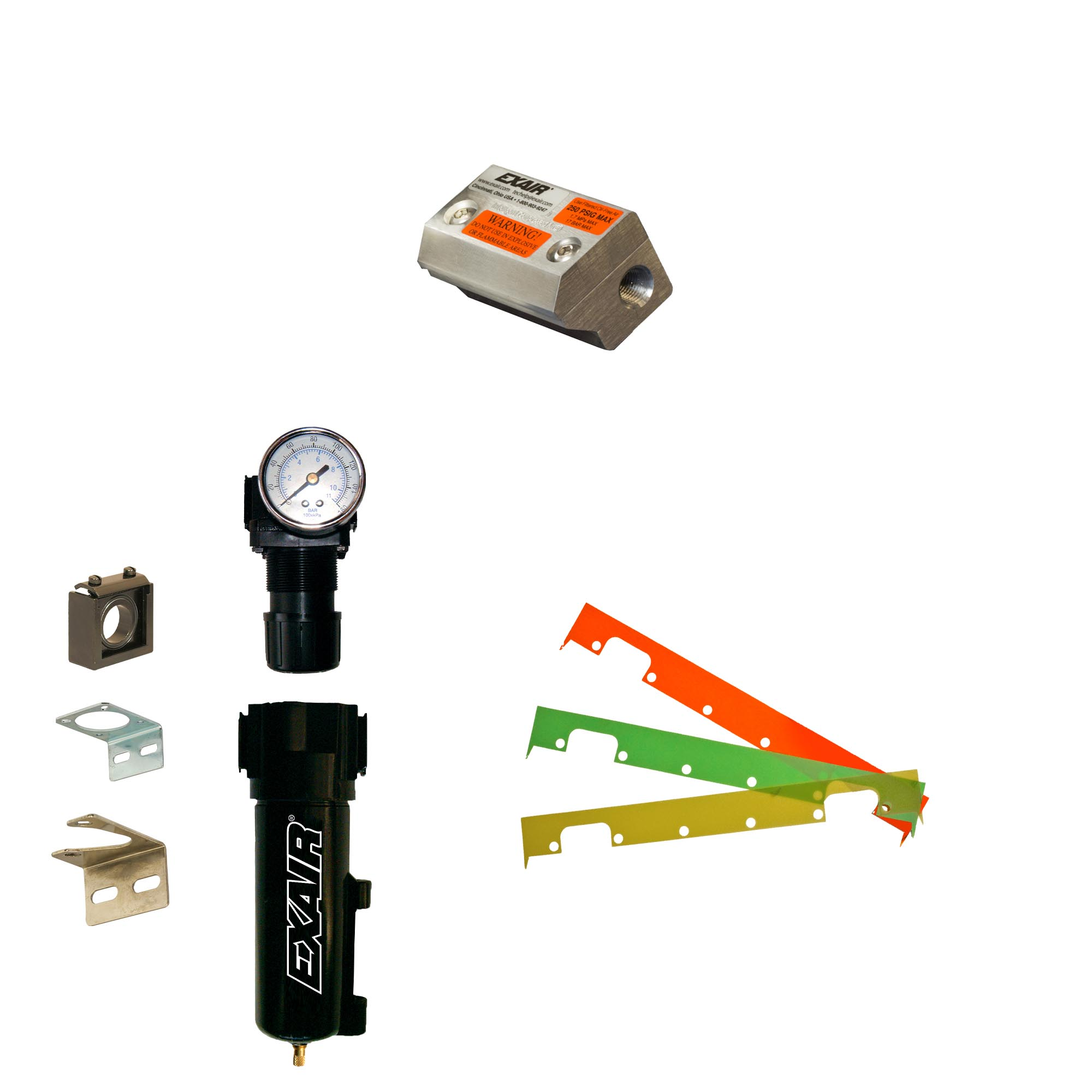 Every aluminum, stainless steel or PVDF Super Air Knife Kit includes the Super Air Knife, Filter, Pressure regulator and appropriate material shim set.