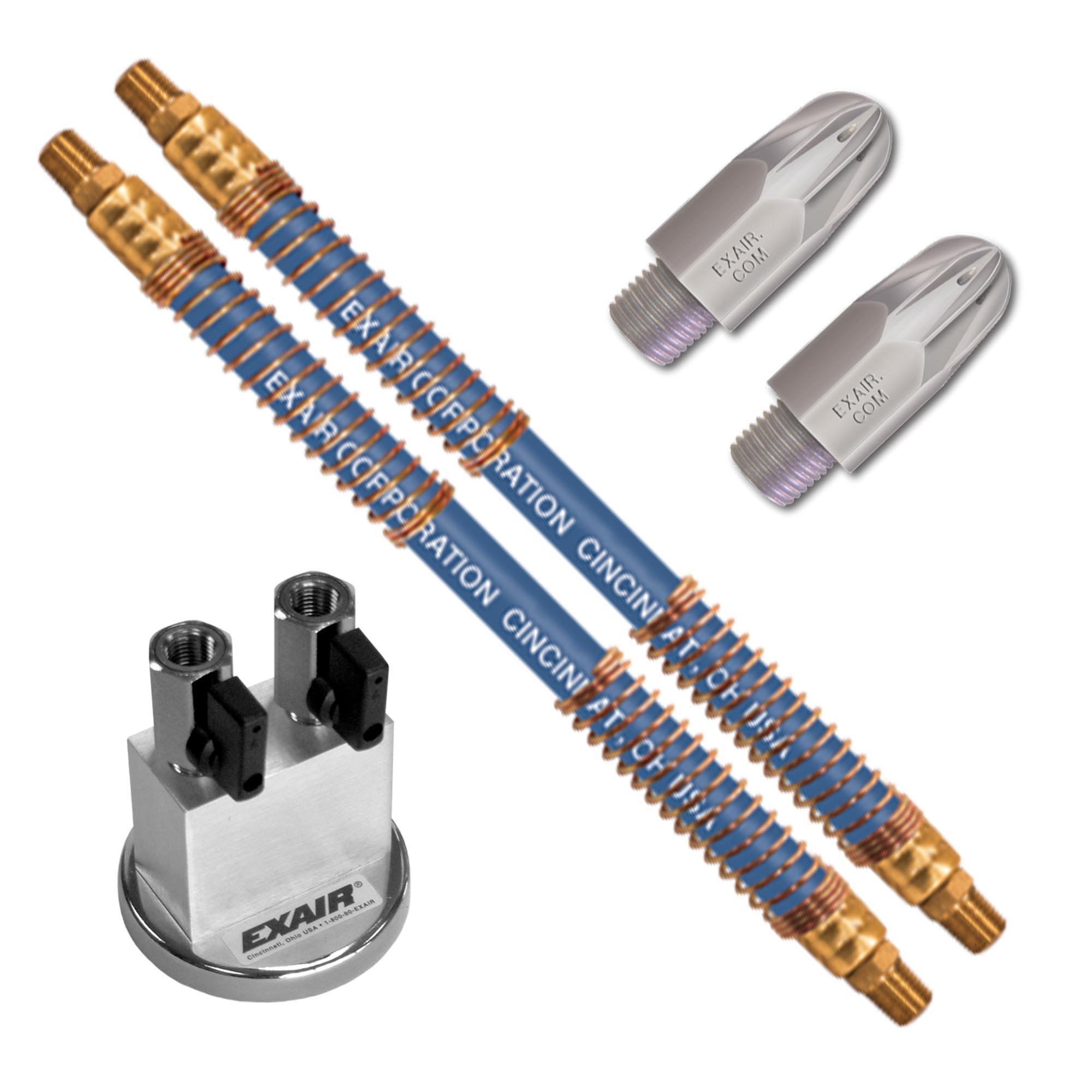"Model 1103-9474 (2) Mini Super Air Nozzles with (2) 24"" SSH & Mag Base"