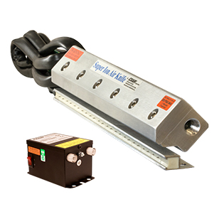 Super Ion Air Knife Systems include the static eliminating Super Ion Air Knife and Power Supply