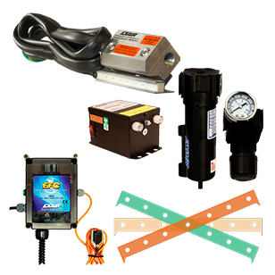 Super Ion Air Knife deluxe kits include the Super Ion Air Knife, Power Supply, Filter, Regulator, Shim set and an air optimizing Electronic Flow Control.