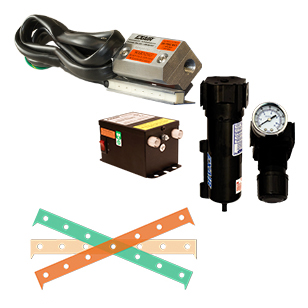 A Super Ion Air Knife kit includes the Super Ion Air Knife, Power Supply, filter separator, pressure regulator and shim set