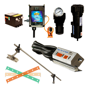 Deluxe kits include the Super Ion Air Knife, EFC Electronic Flow Control, Mounting System, Power Supply, Filter Separator, Pressure Regulator and shim set