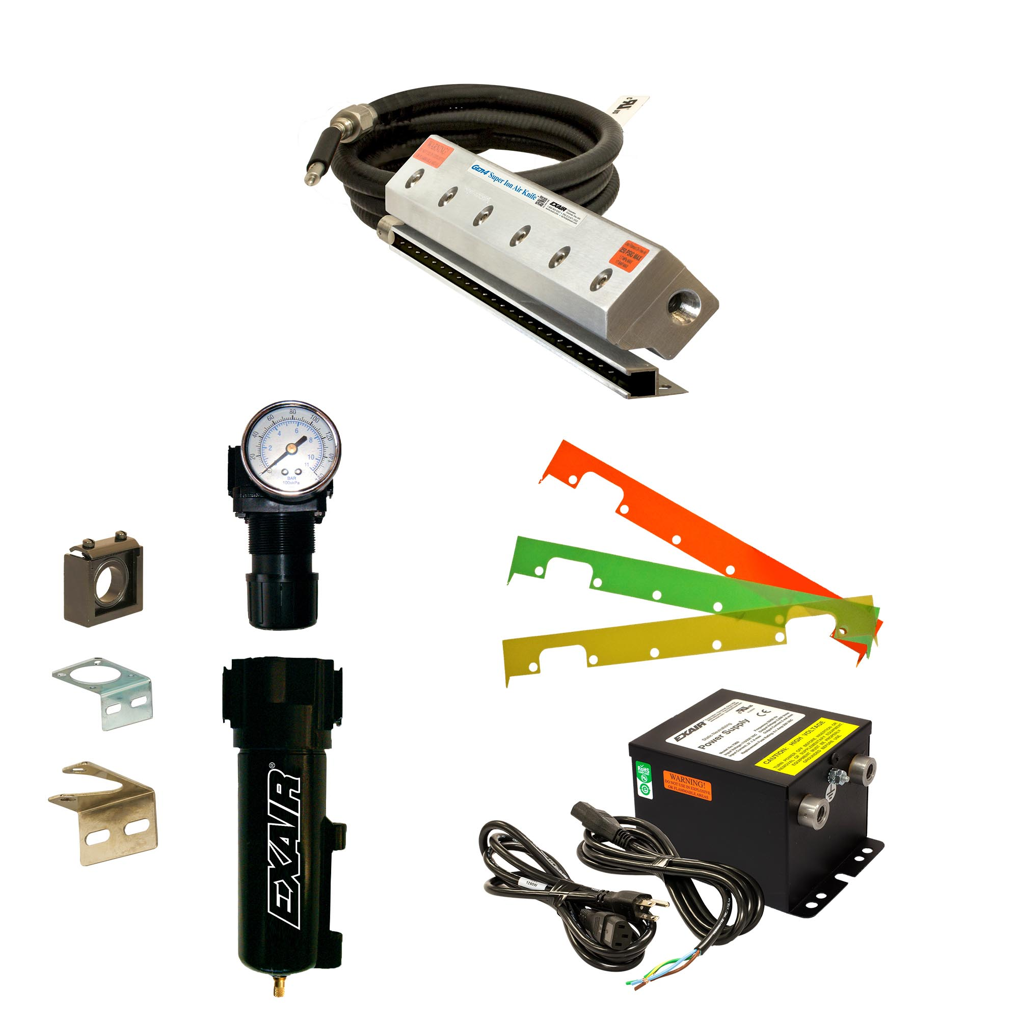 Gen4 Super Ion Air Knife Kits include the Gen4 Super Ion Air Knife, Gen4 Power Supply, Filter/Separator, Pressure Regulator and shim set.
