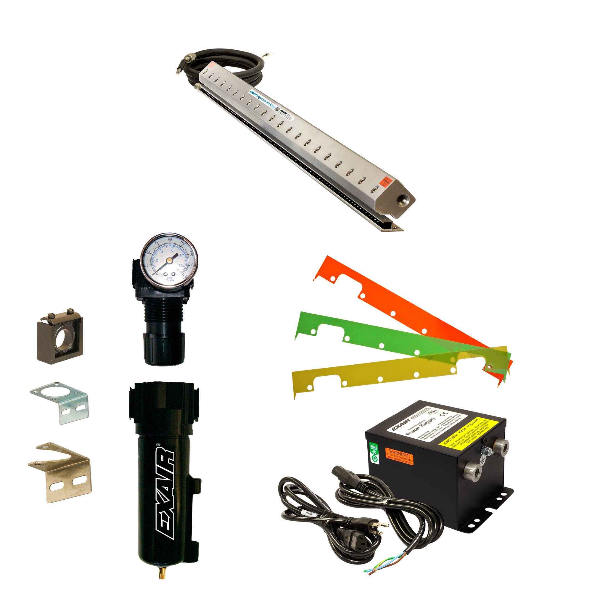 Gen4 Super Ion Air Knife Kits include power supply, shim set, filter separator, and pressure regulator (with coupler)
