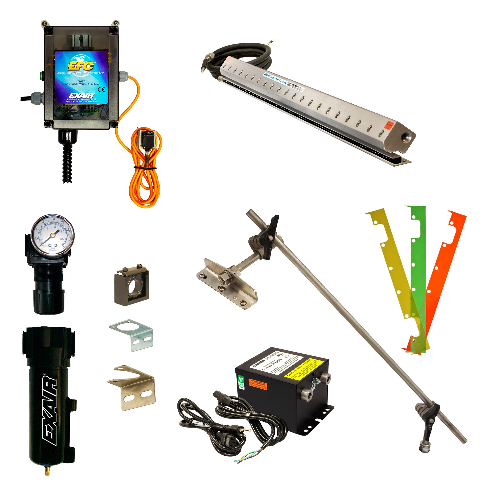 Gen4 Deluxe Super Ion Air Knife Kits include power supply, shim set, EFC, Universal Mounting System, filter separator, and pressure regulator (with coupler)