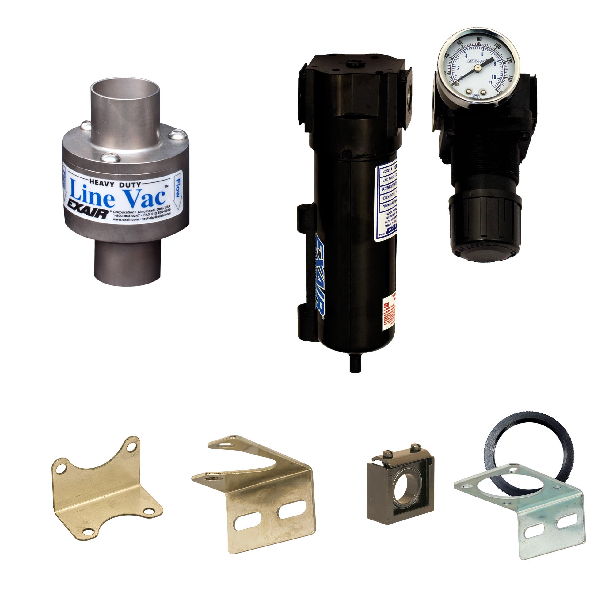 Heavy Duty Line Vac Kits include a Heavy Duty Line Vac, mounting bracket, filter separator and pressure regulator (with coupler).