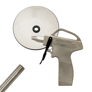 VariBlast Compact Safety Air Guns with nozzle, extension pipe, and chip shield