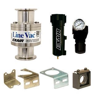 "Sanitary Flange Line Vac Kits are available in 4 sizes from 1-1/2"" to 3"". They include the Line Vac, mounting bracket, filter separator and pressure regulator (with coupler)."