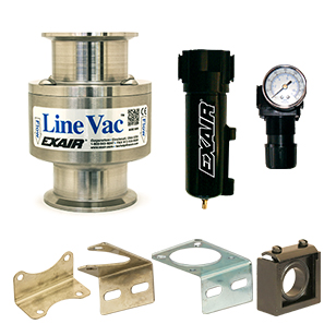 Sanitary Flange Line Vac Kits include the Line Vac, filter separator, pressure regulator and the associated mounting brackets for each product.