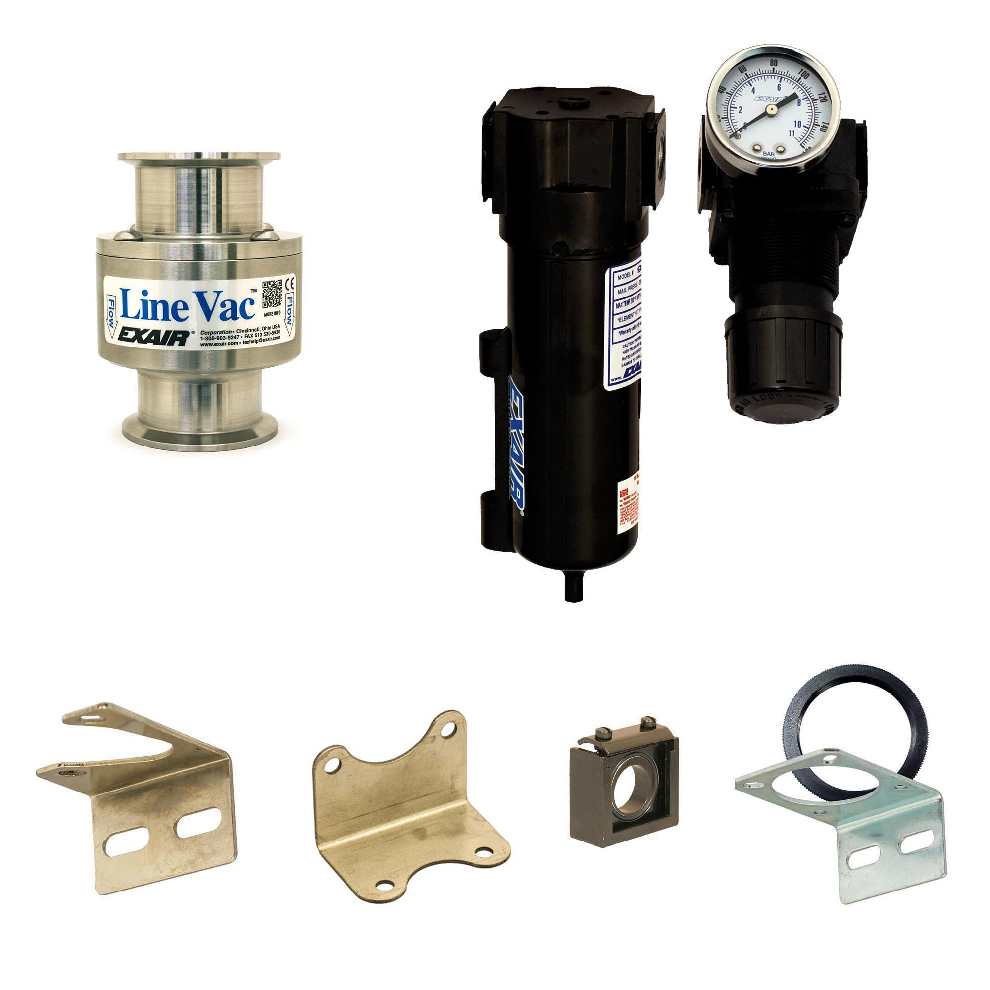"""Sanitary Flange Line Vac Kits are available in 4 sizes from 1-1/2"""" to 3"""". They include the Line Vac, mounting bracket, filter separator and pressure regulator (with coupler)."""