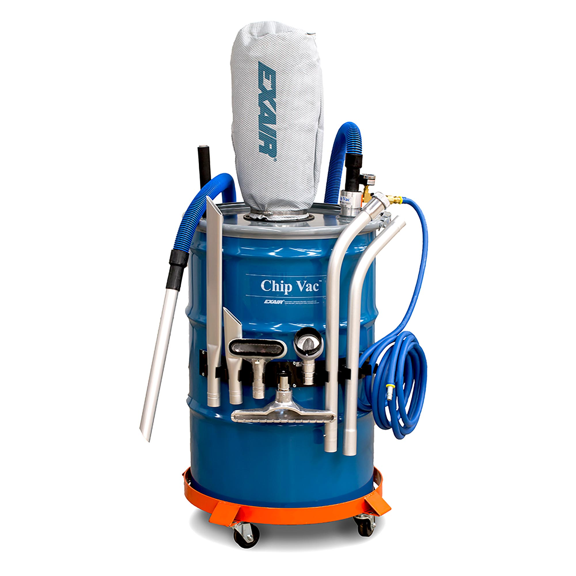 Model 6393 55 Gallon Premium Chip Vac System includes a drum, heavy duty tools, static resistant hose, tool holder and drum dolly.