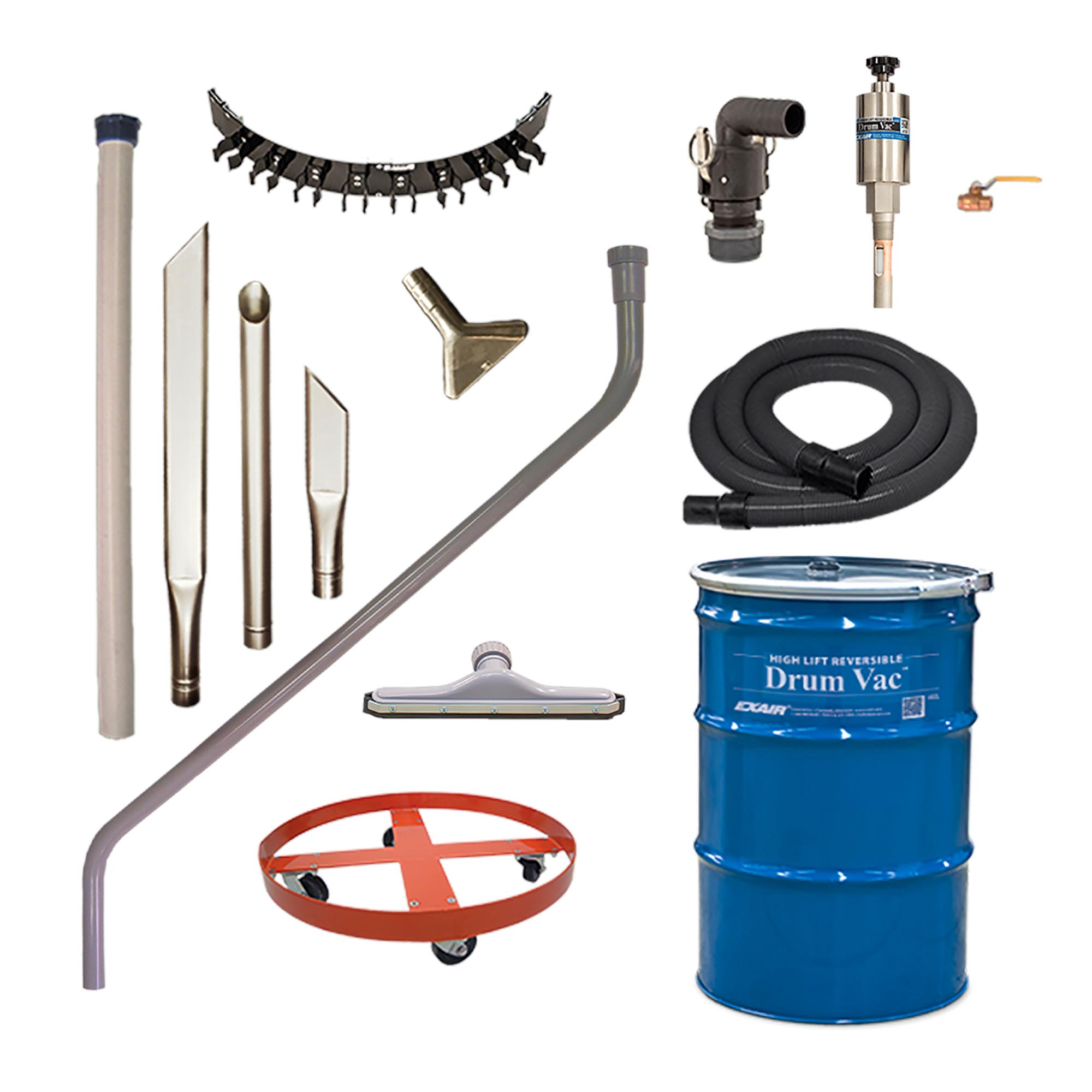 Premium High Lift Reversible Drum Vac Systems include the drum, pump, heavy duty tools, tool holder and all accessories.