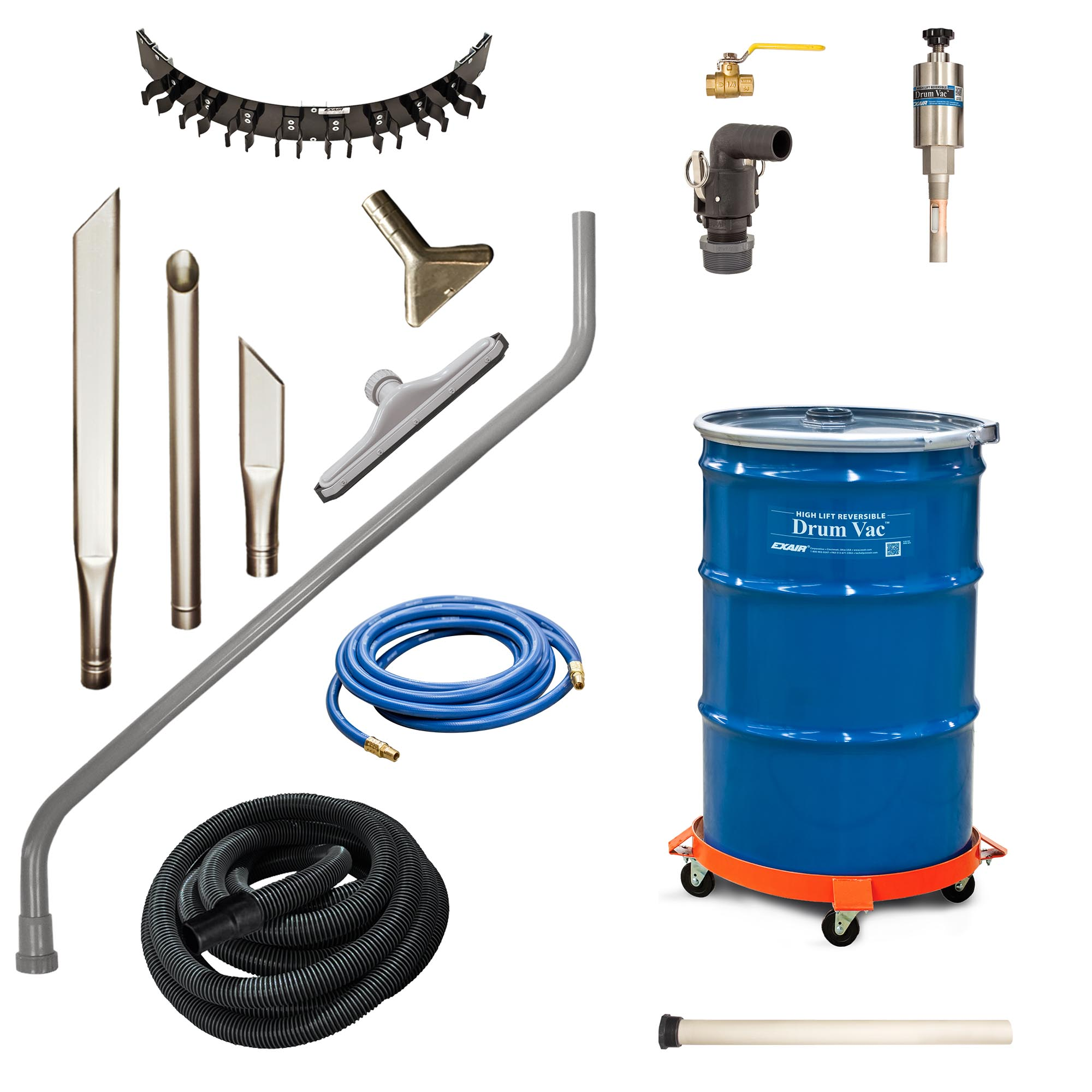 Model 6395-30 30 Gallon High Lift Premium Reversible Drum Vac System includes heavy duty tools, drum and drum dolly.