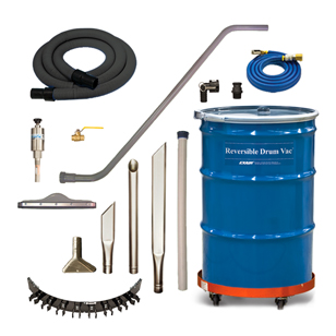 Premium Reversible Drum Vac Systems include the drum, heavy duty tools, tool holder, drum dolly, vacuum hose, wand, and all you need to vacuum liquid throughout your plant.