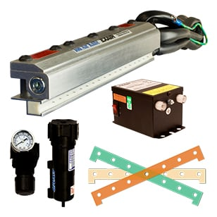 Standard Ion Air Knife kits include the Ion Air Knife, 115V Power Supply, Filter/Separator, pressure regulator and shim set.