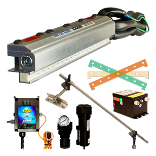 Deluxe kits contain the Ion Air Knife, EFC Electronic Flow control, 115V Power Supply, Universal Mounting system, Filter/separator, pressure regulator and shim set.