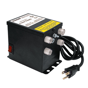Single voltage four outlet power supplies are available in 115V or 230V.
