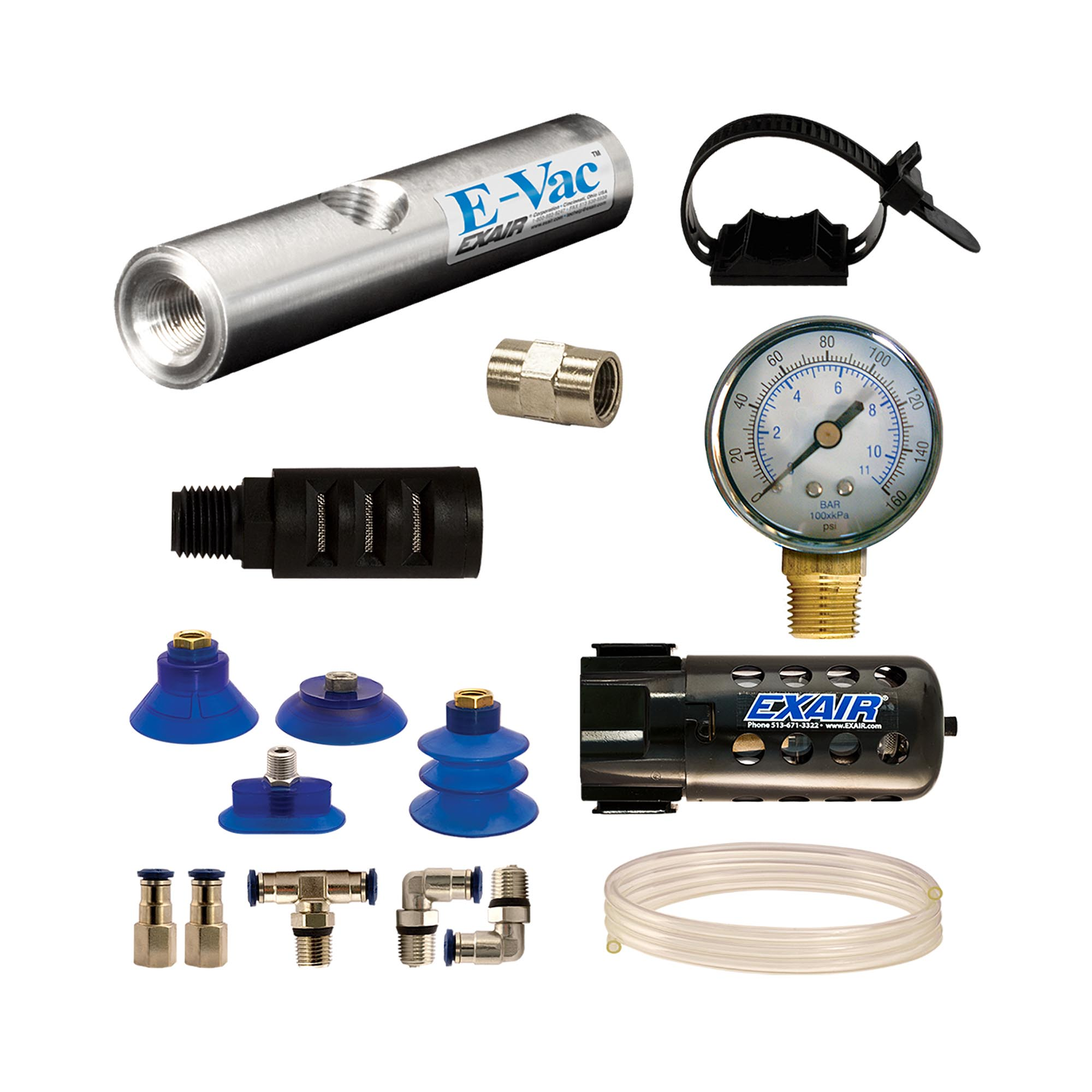 Model 812003M In-Line E-Vac Deluxe kit with standard muffler adds a filter separator and pressure gauge.