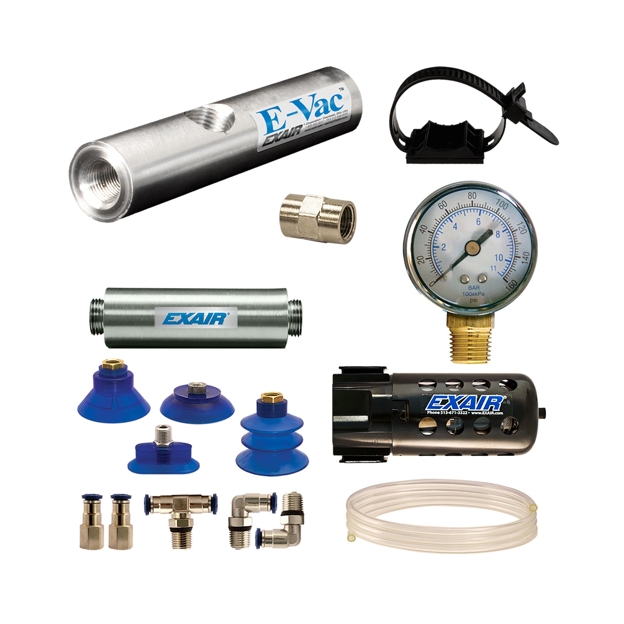 Model 812003M In-Line E-Vac Deluxe kit with straight through muffler adds a filter separator and pressure gauge.