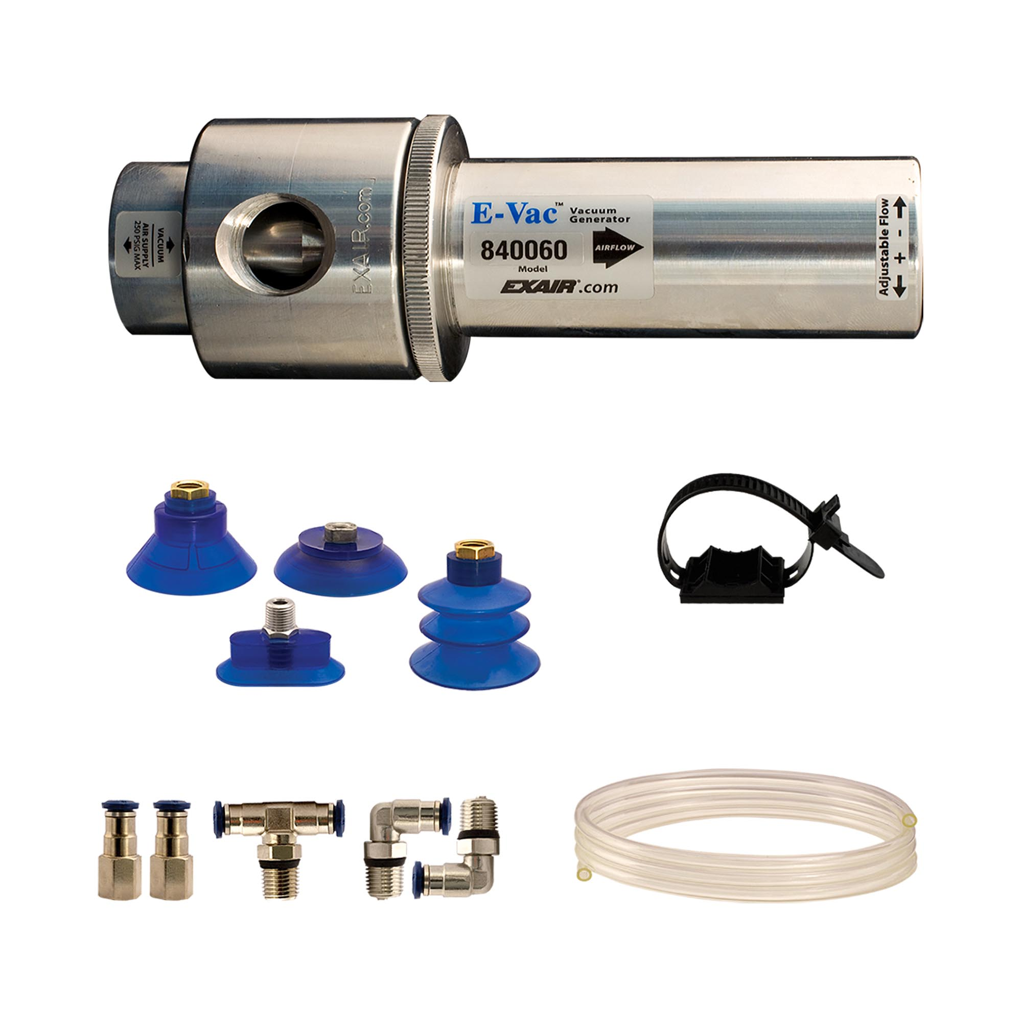 An Adjustable E-Vac kit includes suction cups, fittings, muffler (not shown), vacuum tube and mounting strap.