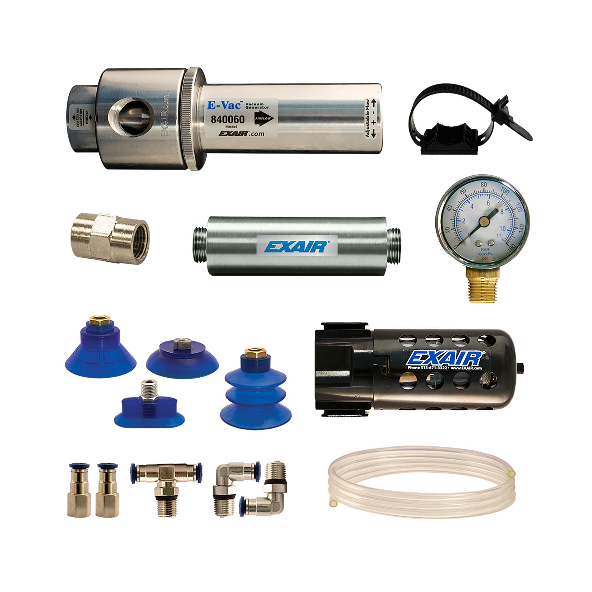 A deluxe kit includes the E-Vac, straight thru muffler, suction cups, fittings, vacuum tube, a filter separator and pressure gauge.