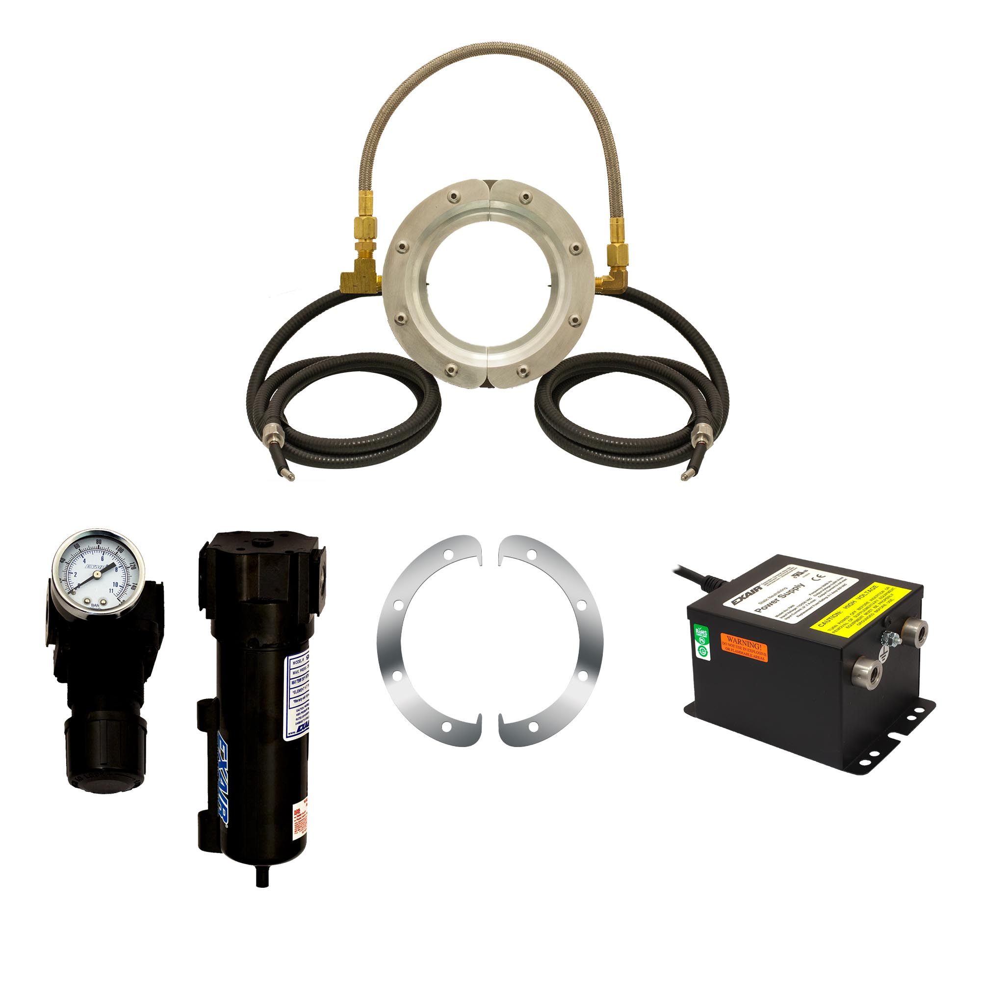 The Super Ion Air Wipe Kit includes the Super Ion Air Wipe, Power Supply, Filter/Separator, Pressure Regulator and shim set