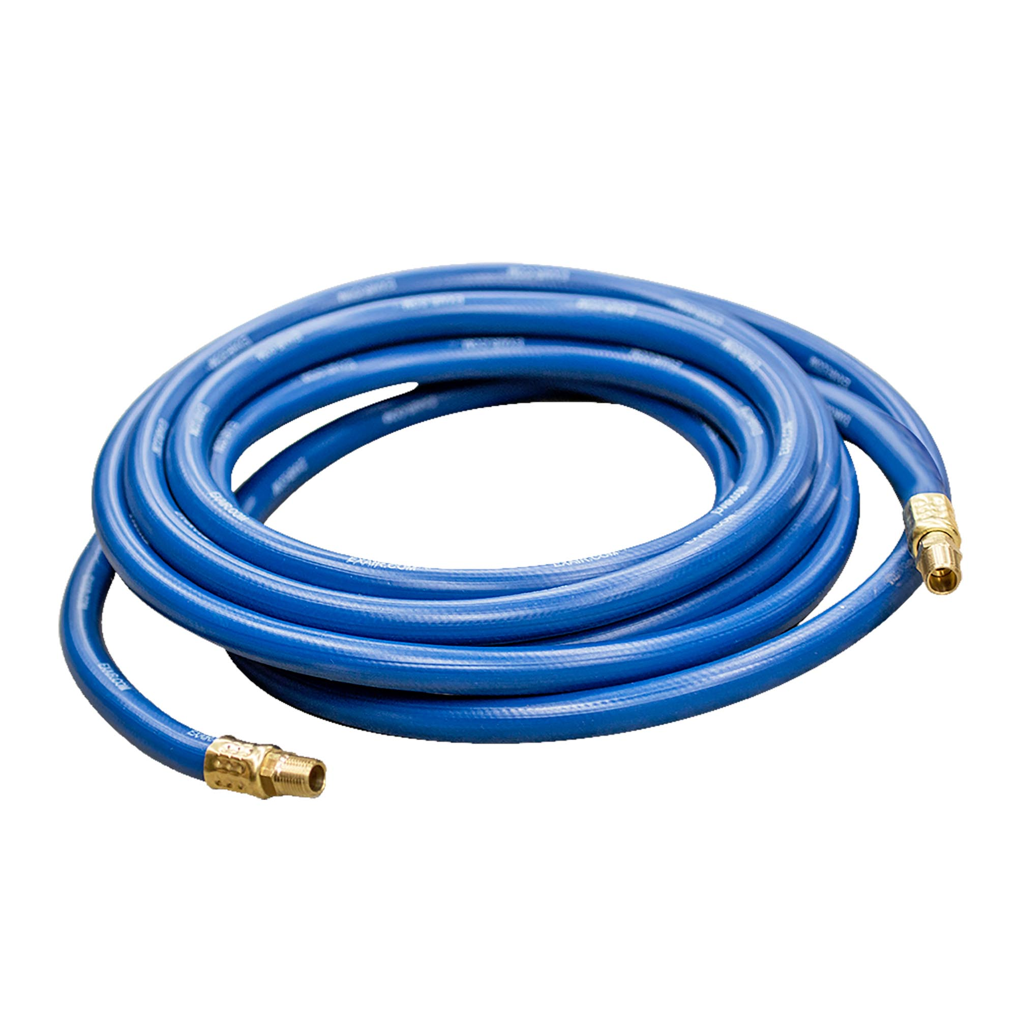 "Model 901055 20 ft. x 1/2"" Compressed Air Hose with Model 900733 Swivel Fittings installed"