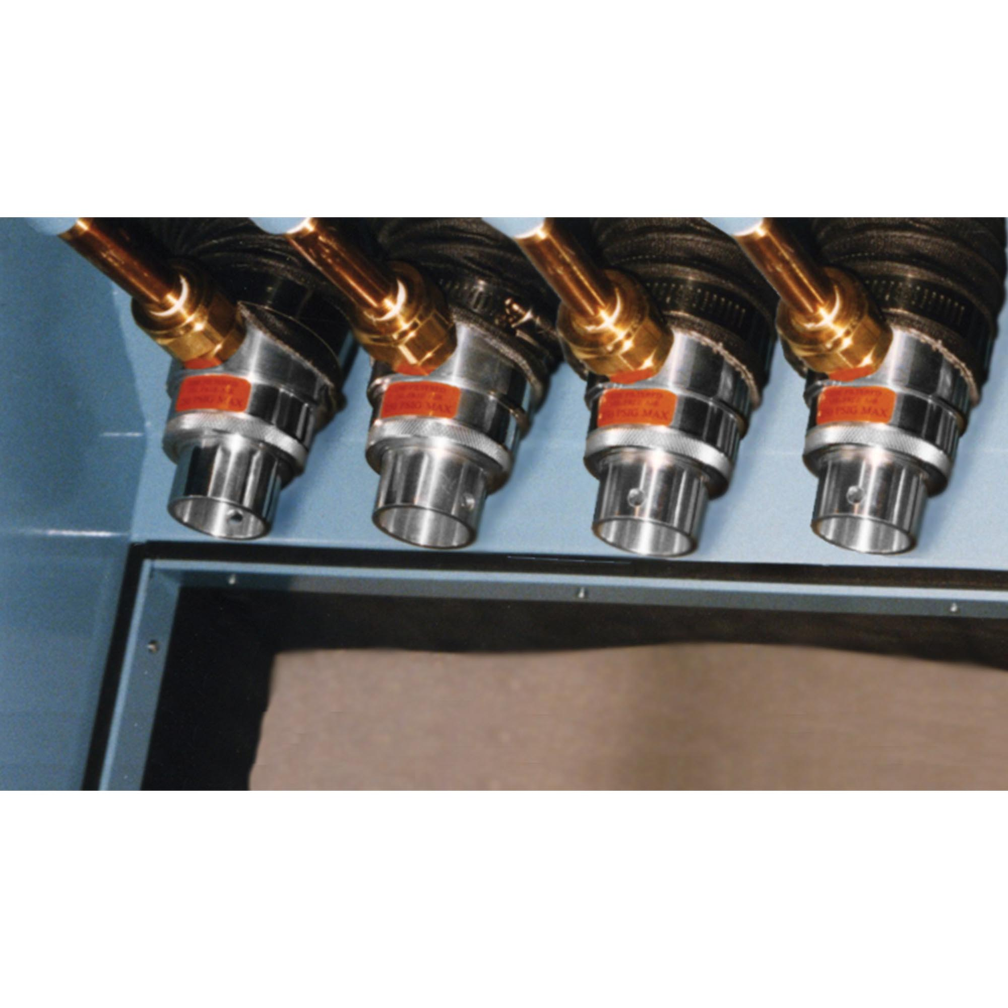 "Metal parts are dried using a series of Model 6042 2"" (51mm) Adjustable Air Amplifiers."