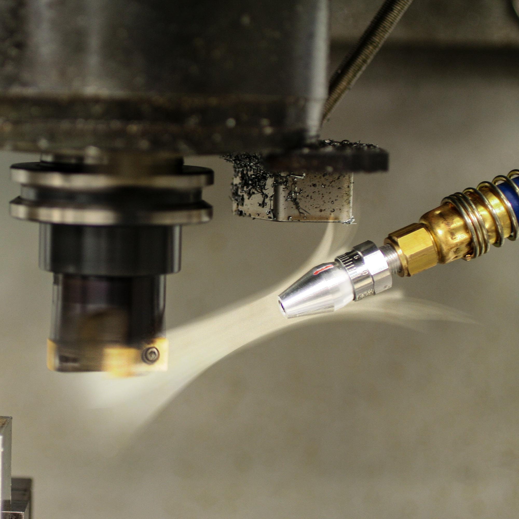 Adjusting the air nozzle opens and closes the air gap which produces more or less force and flow from the nozzle