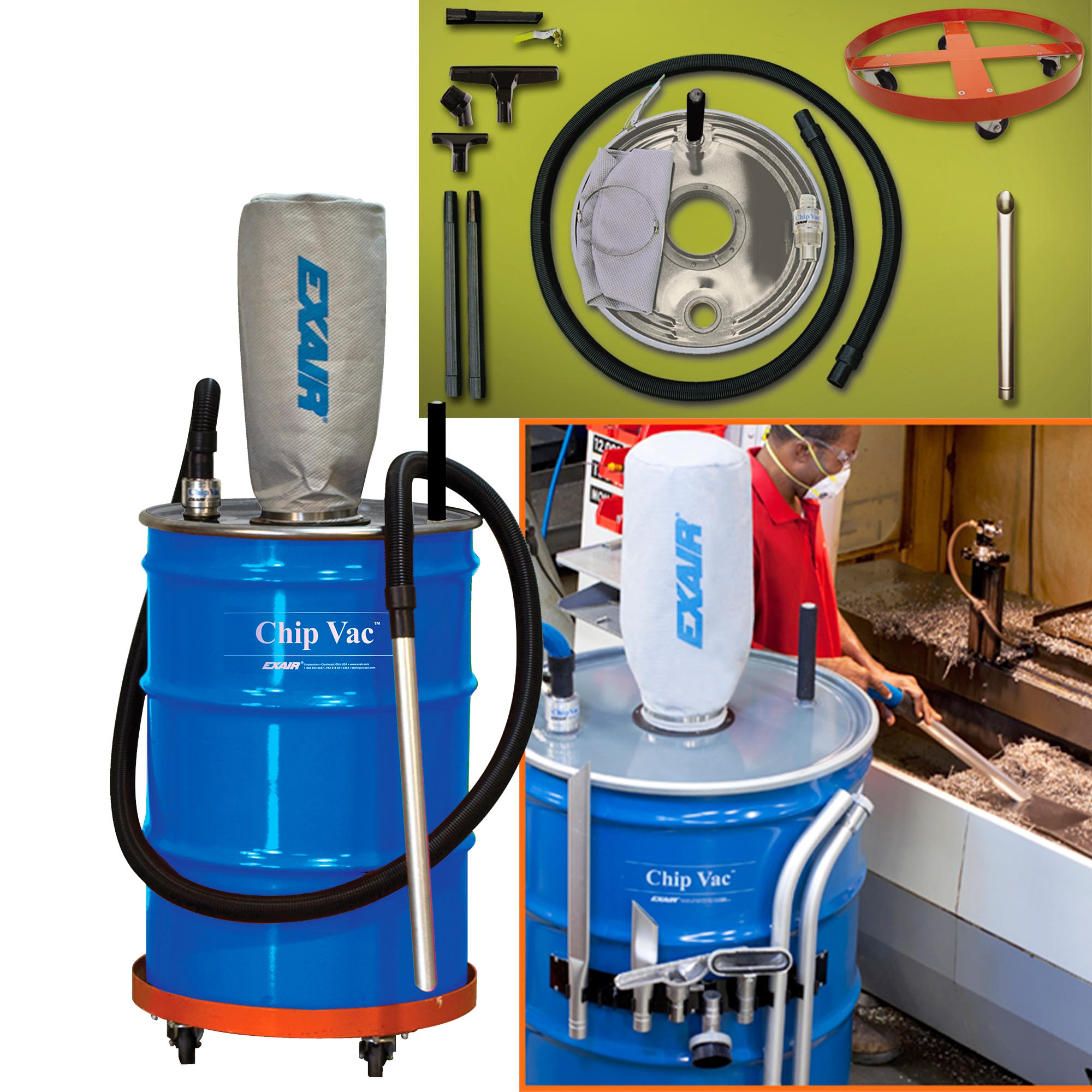 Chip Vac accessories including Chip wand, filter bag, vacuum hose, drum dolly and all tools.