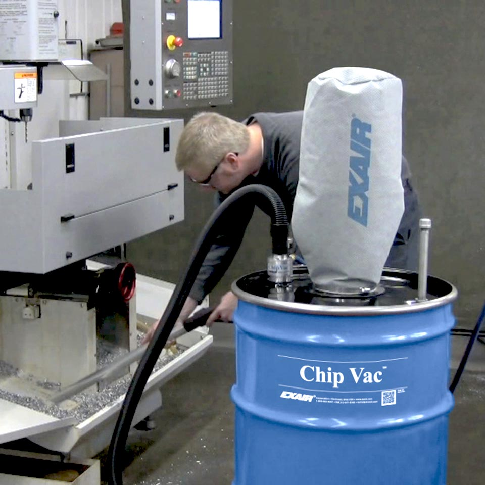 Chip Vacs can keep chips and debris off of machinery moving parts to prevent wear.