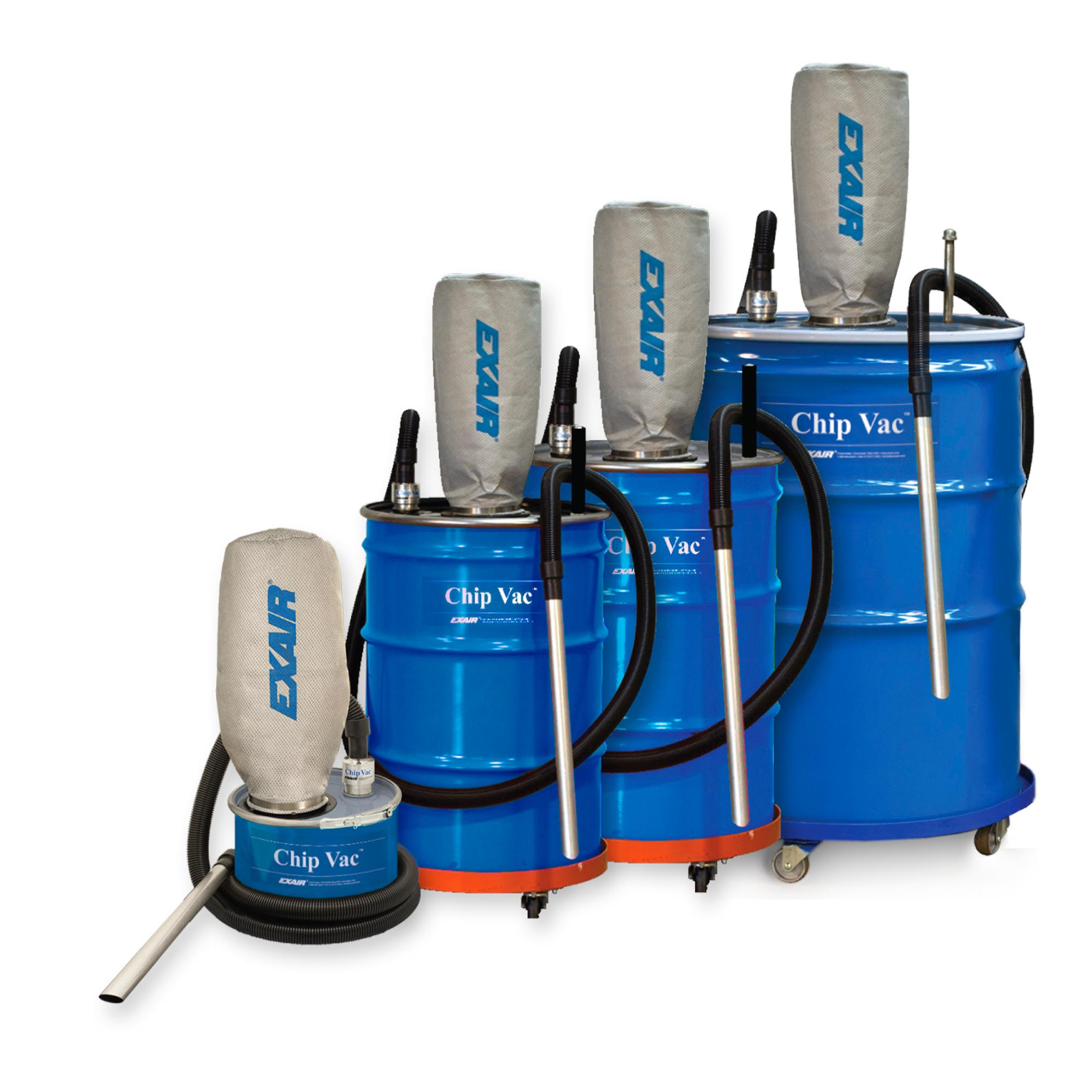 Chip Vac Systems are available in 5, 30, 55 and 110 gallon sizes.