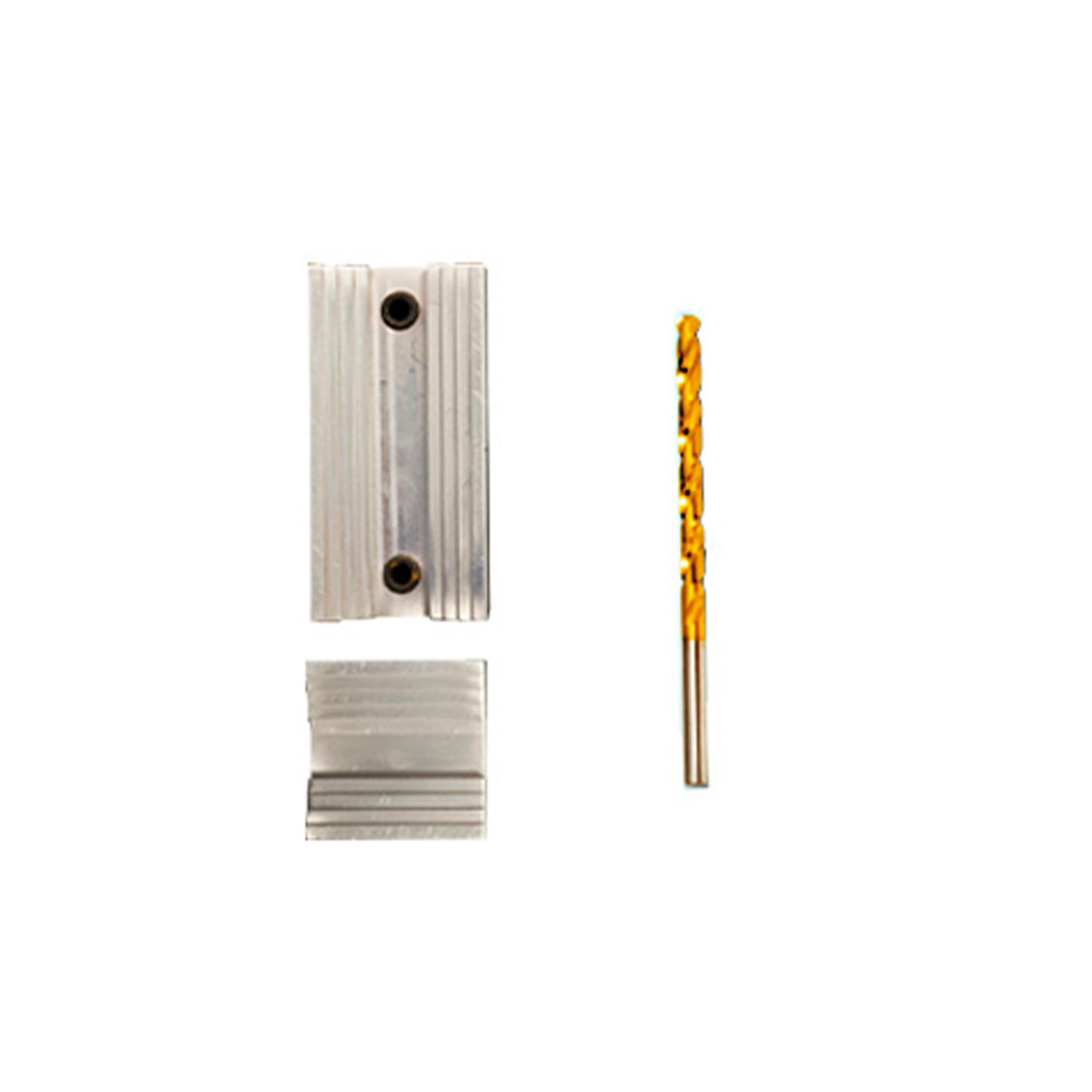 The Drill Guide Kit for the Digital Flowmeter includes a locating jig and drill bit.