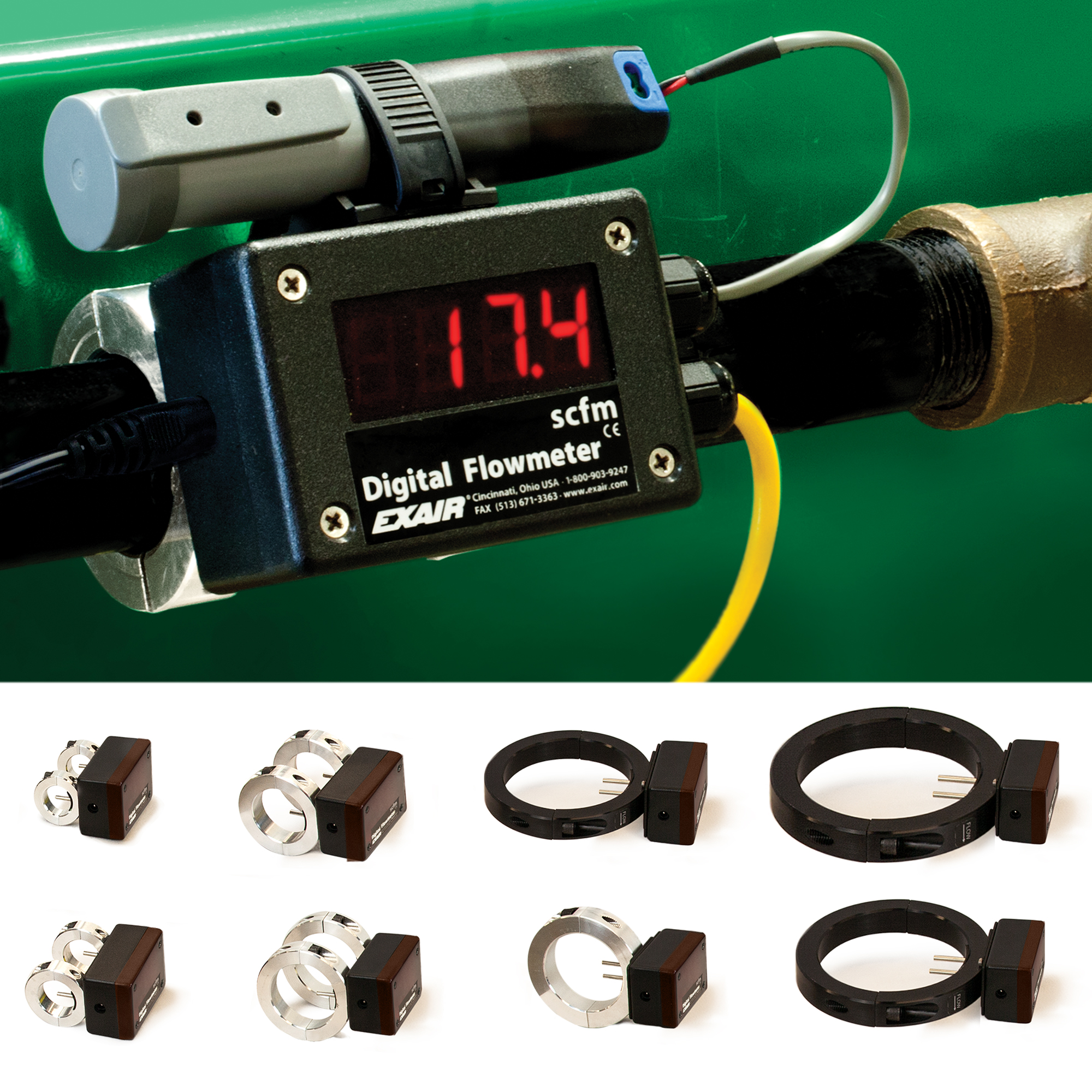 "EXAIR stock Digital Flowmeters from 1/2"" through 4"" for schedule 40 iron pipe."