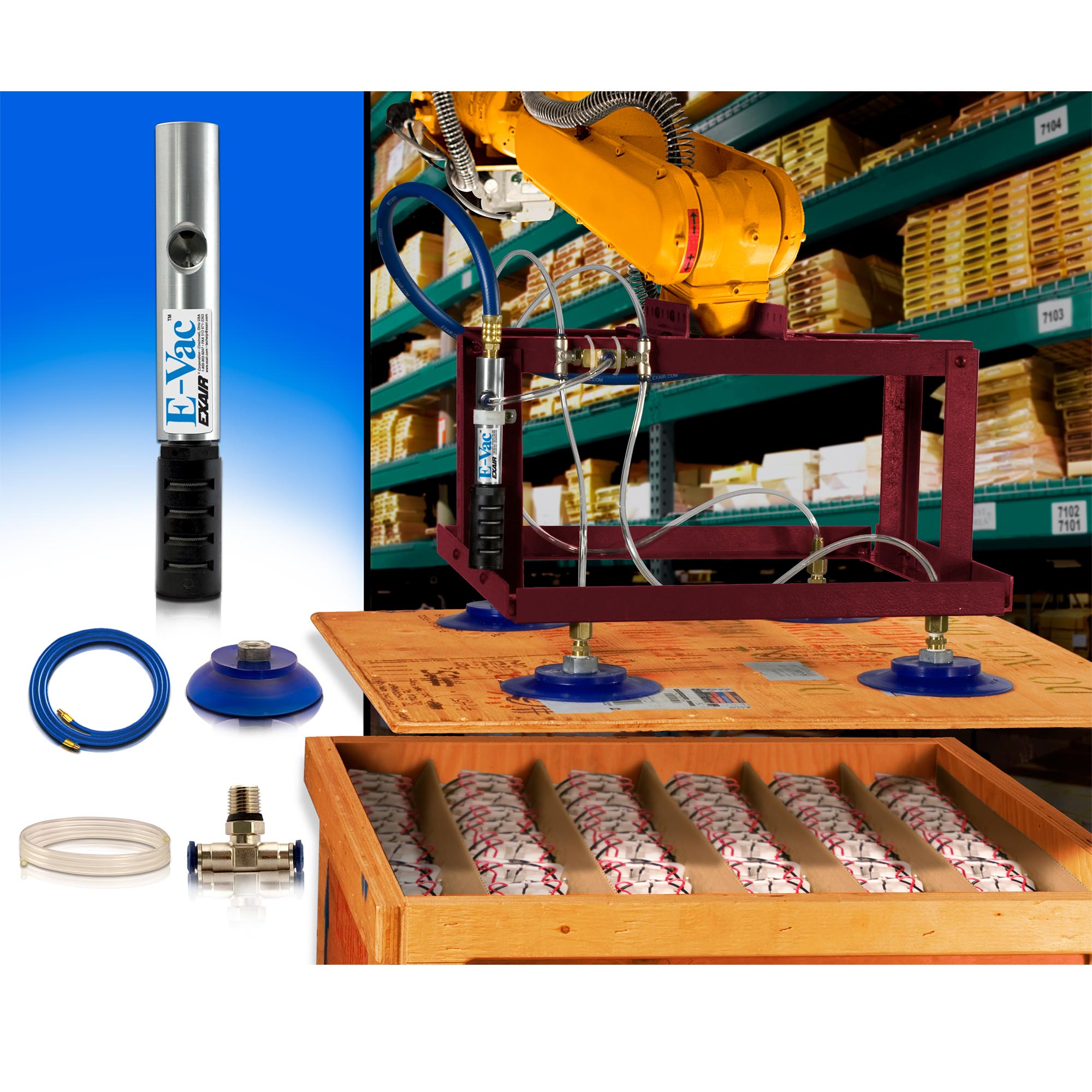 The In-Line E-Vac (porous version) is used to lift the plywood lid of a crate in a receiving department.