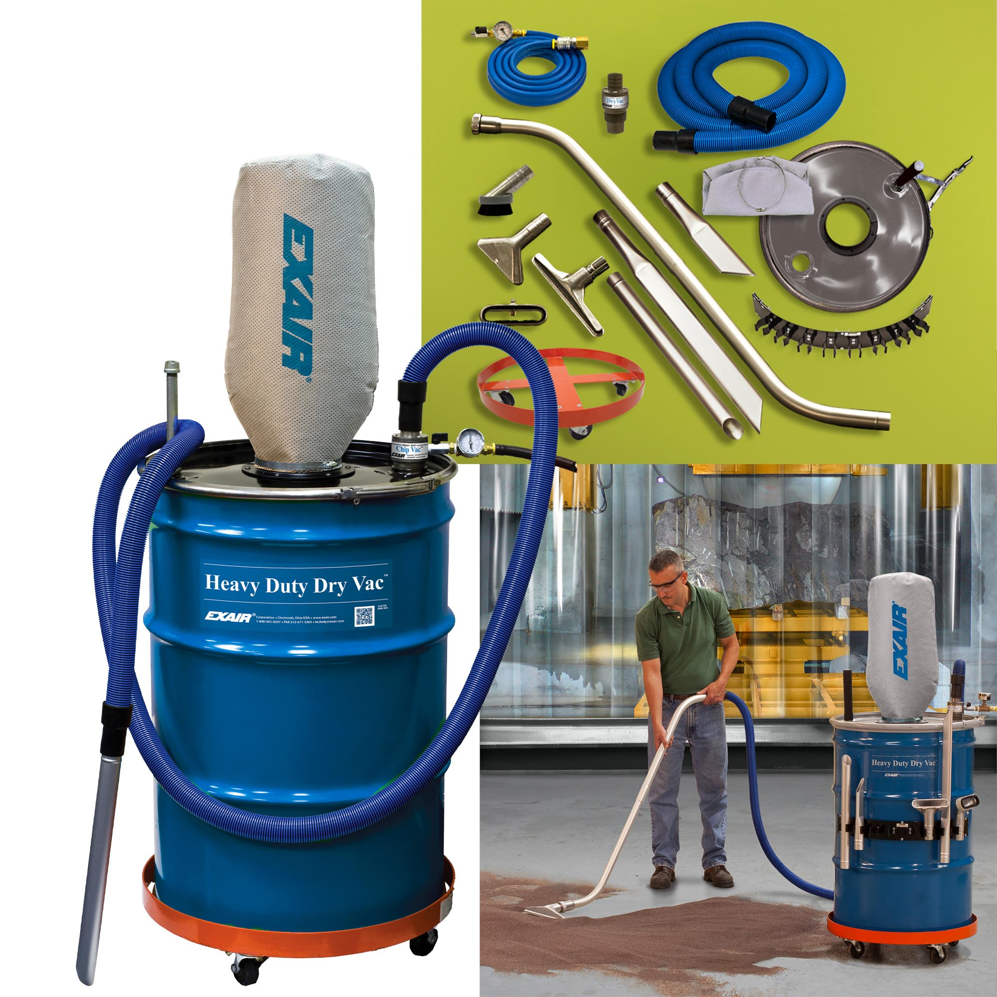 The Model 6197 Heavy Duty Dry Vac System includes 10' (3m) static resistant hose, 20' (6.1m) compressed air hose, filter bag, aluminum chip wand, shutoff valve and gauge. Deluxe and Premium systems also available.