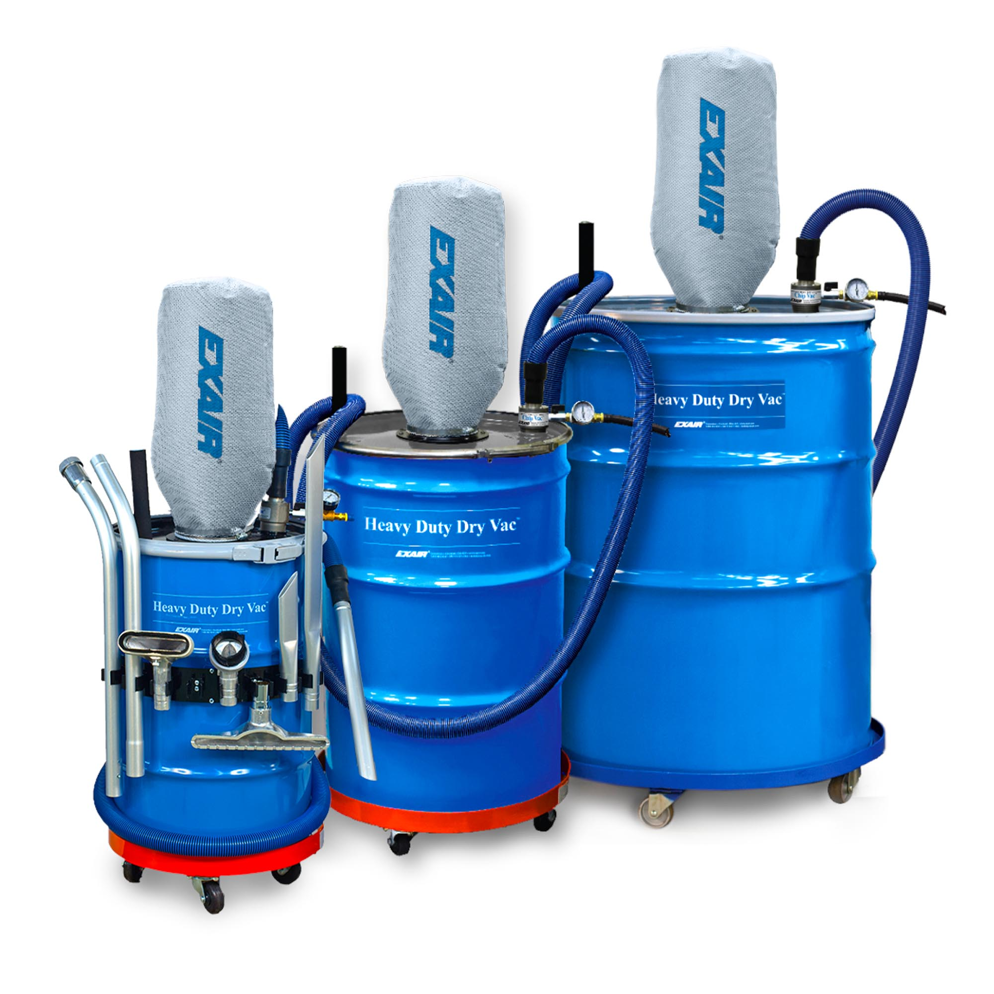 Heavy Duty Dry Vac are available in 30, 55 and 110 gallon sizes.