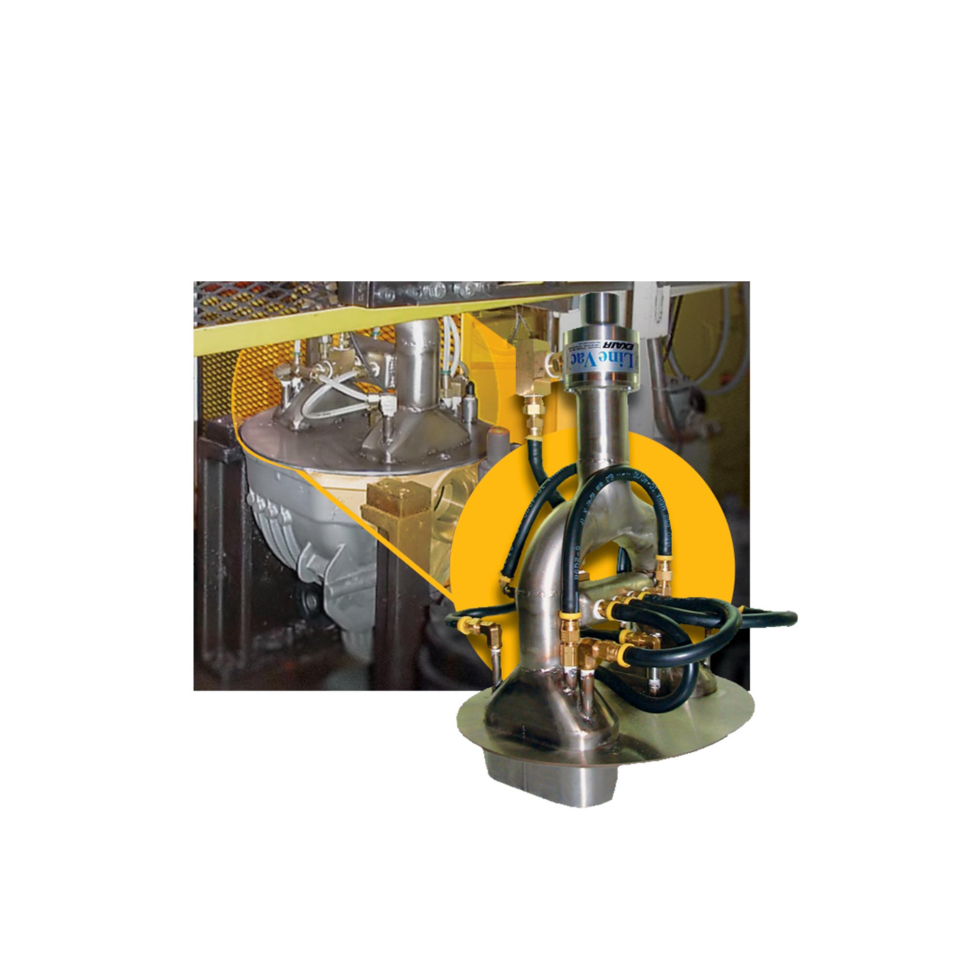 Here, a Heavy Duty Line Vac is used to vacuum chips and swarf from a differential.
