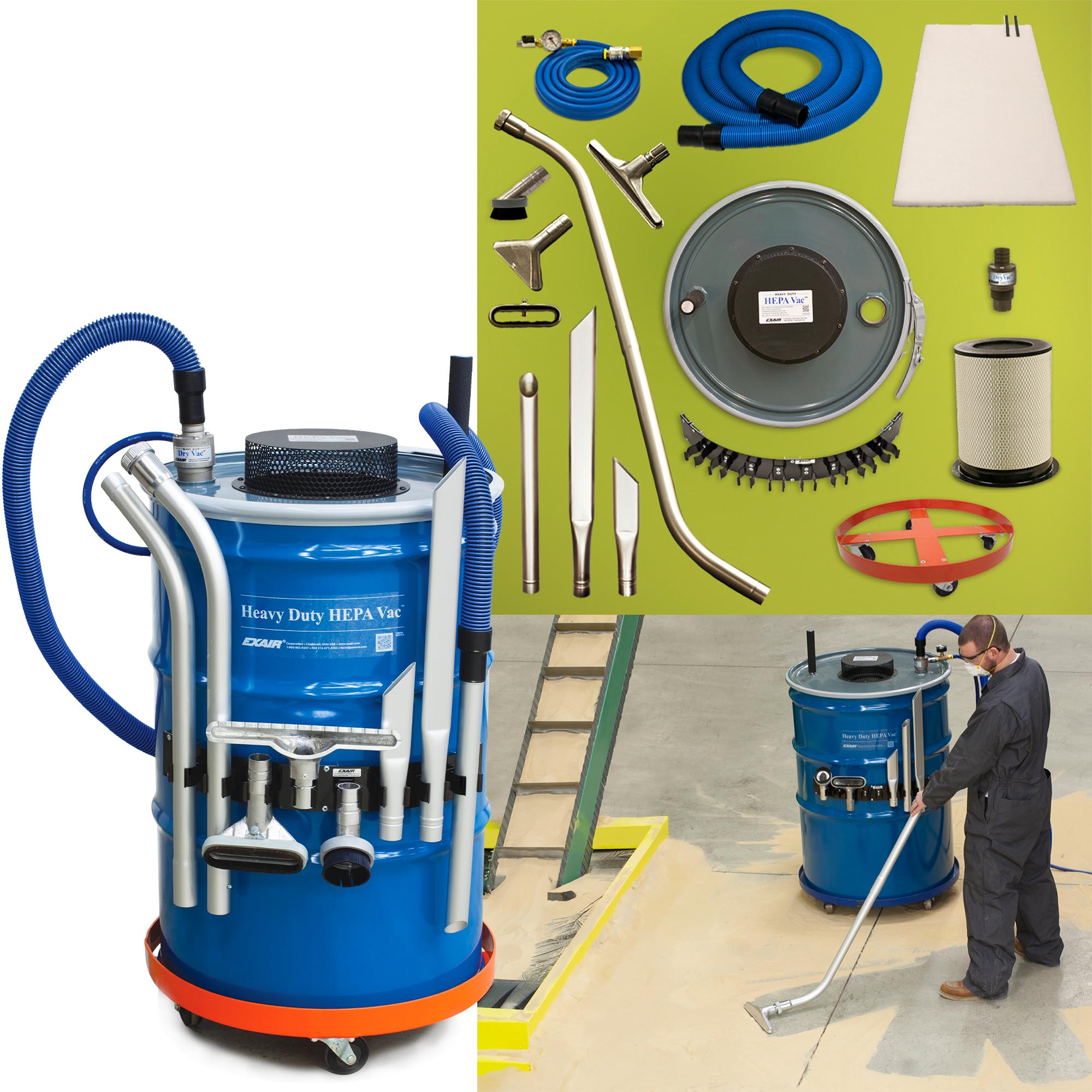 The Model 6399 Premium Heavy Duty HEPA Vac System includes the drum, drum dolly, HEPA filter, pre-filter, 10' (3m) static resistant hose, 20' (6.1m) compressed air hose, heavy duty tools, tool holder, shutoff valve and gauge.