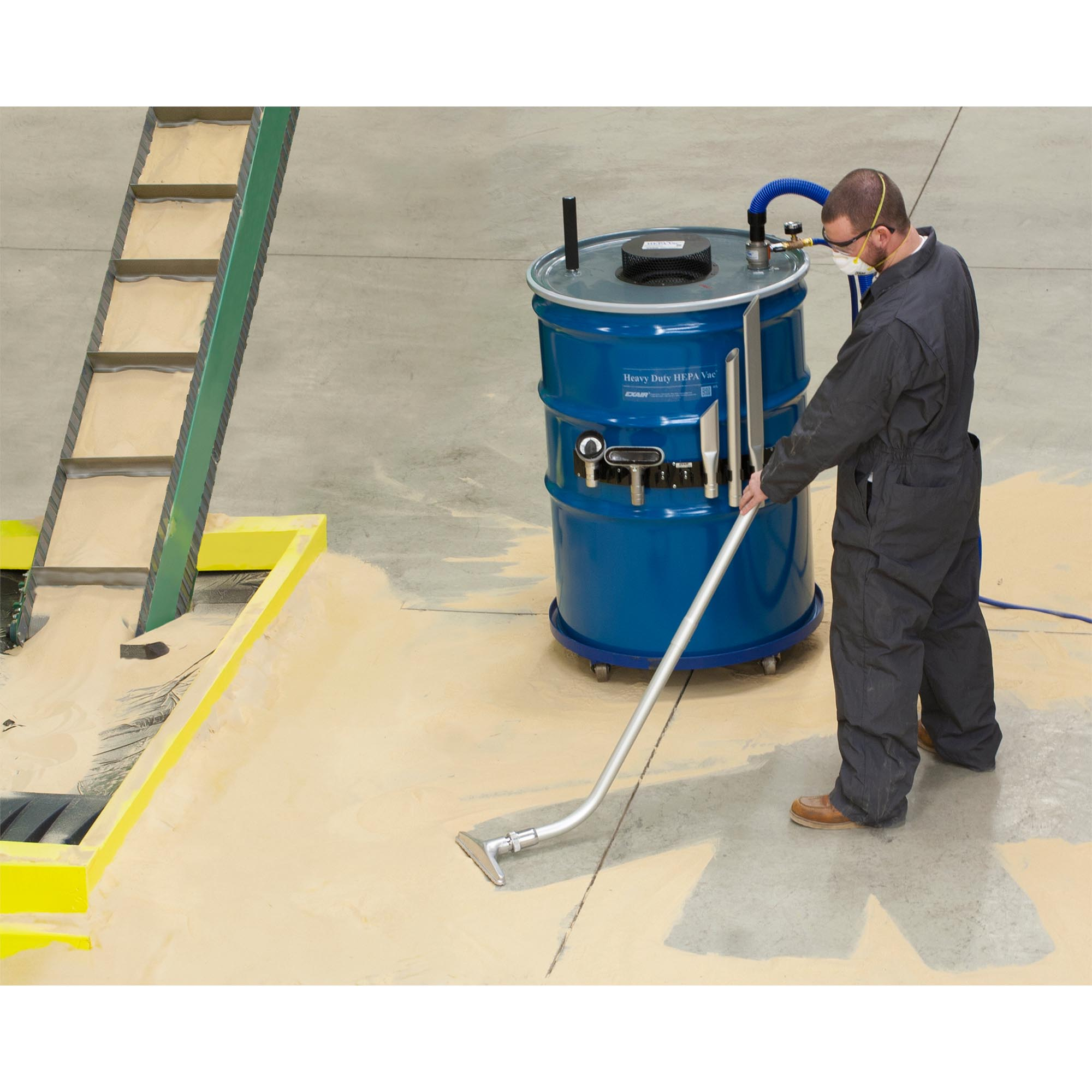 A clogged filtering system for a buffing booth is quickly cleaned and put back into service using the Heavy Duty HEPA Vac.