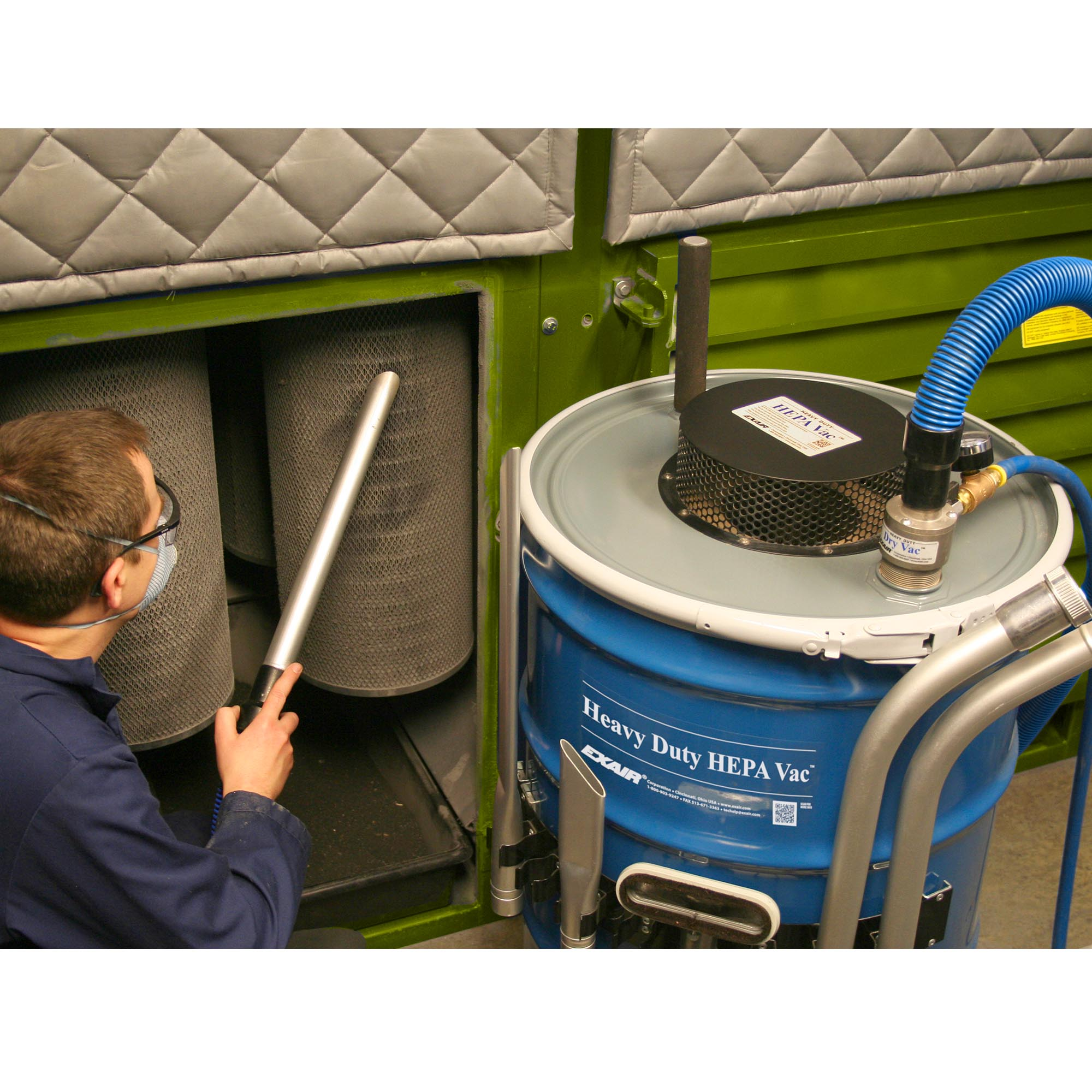Heavy Duty HEPA Vacuum For 110 Gallon Drums removes large volumes of dusty debris and spills.