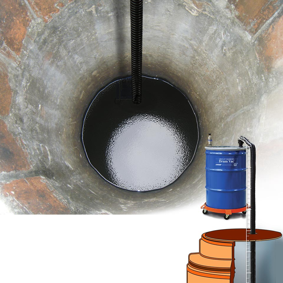 Here, a High Lift Reversible Drum Vac is draining a deep well for repairs.