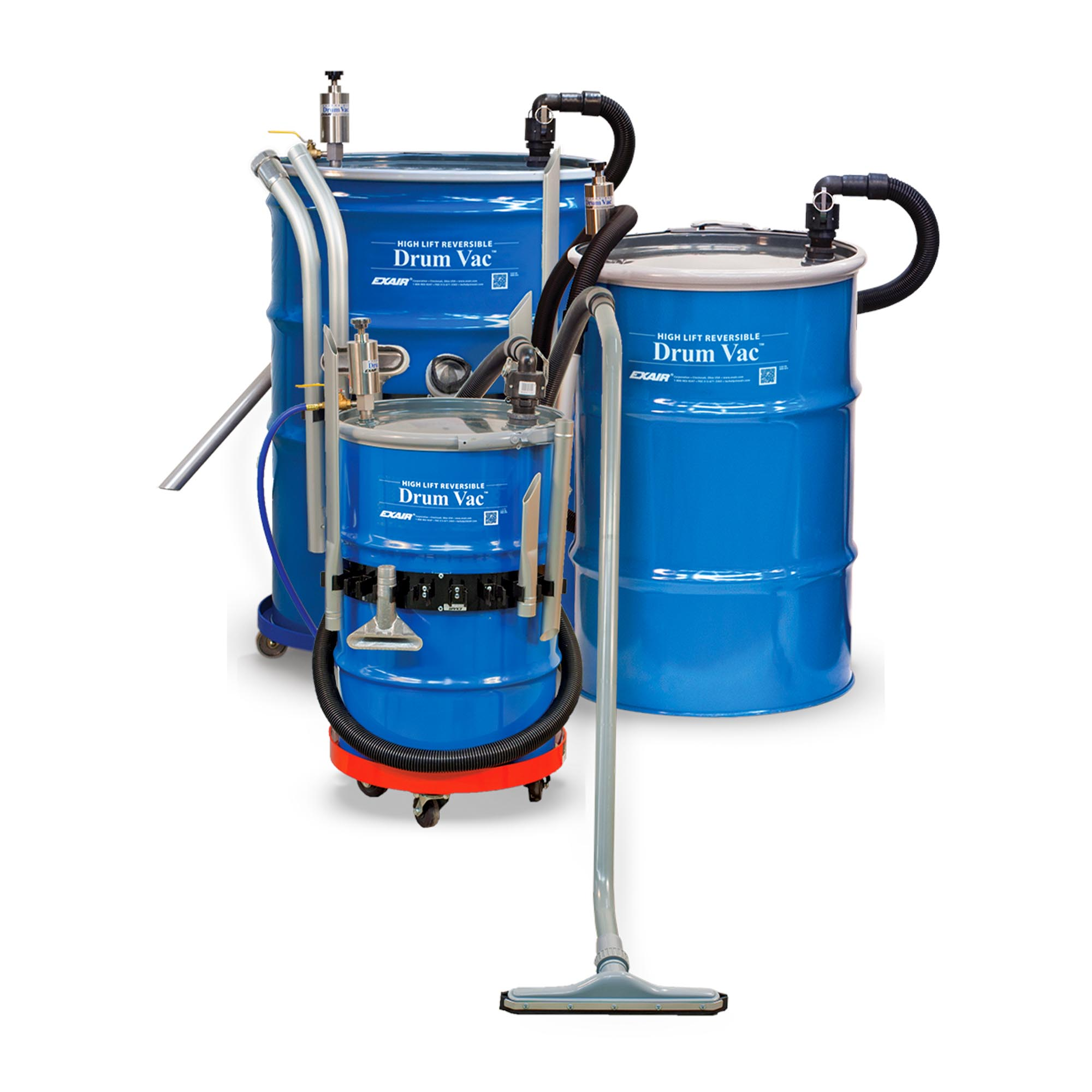 The High Lift Reversible Drum Vac is available in 30, 55 and 110 Gallon models.