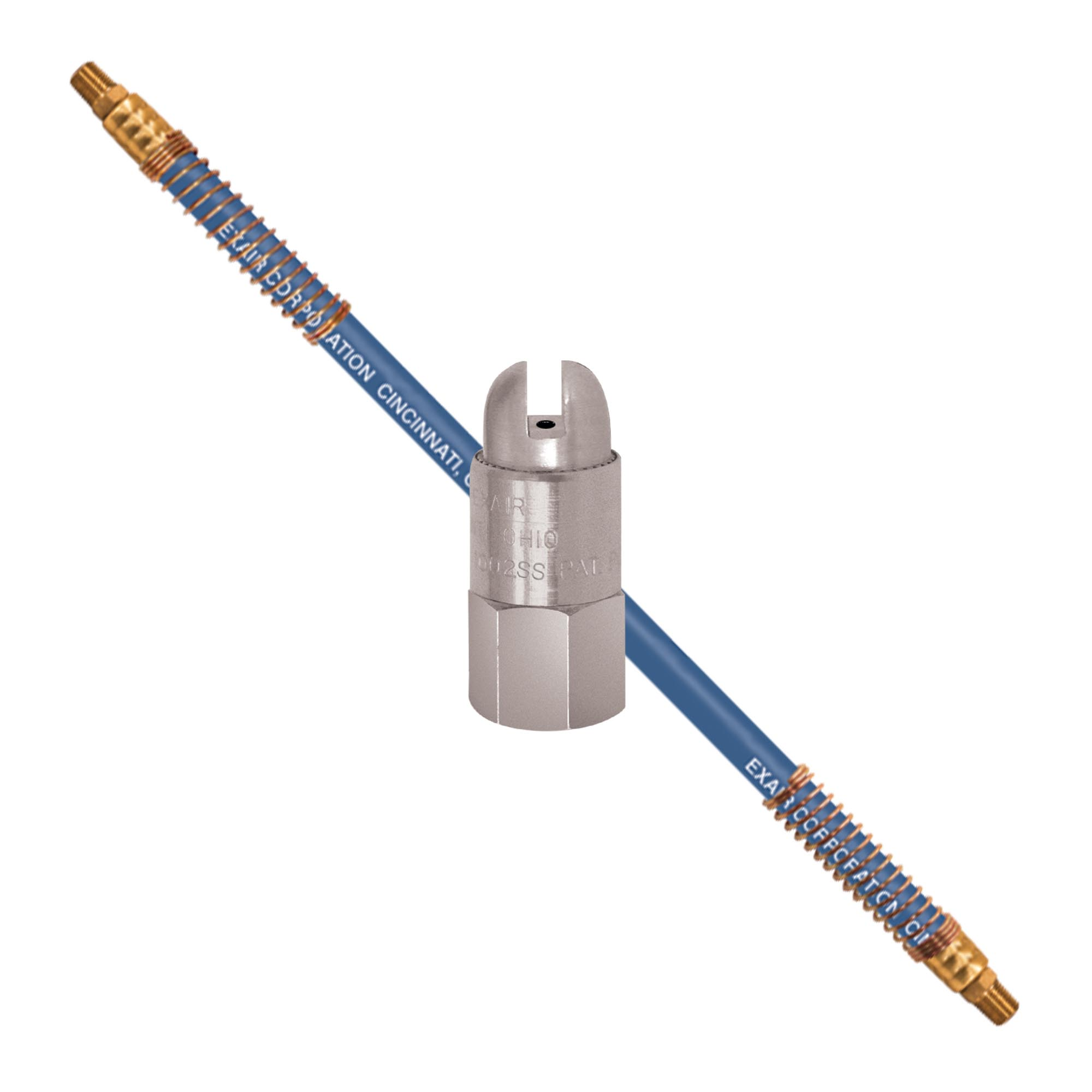 Model HP1002SS-9206 Stainless Steel High Power Safety Air Nozzle and Stay Set Hose aims the nozzle precisely where intended