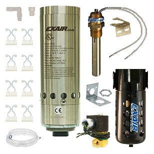 Thermostat control systems are the most efficient system because it will turn itself on and off as needed to cool your enclosure. Includes cooler, solenoid valve and thermostat, filter separator and cold air distribution kit. These are 24VDC HazLoc Cabine