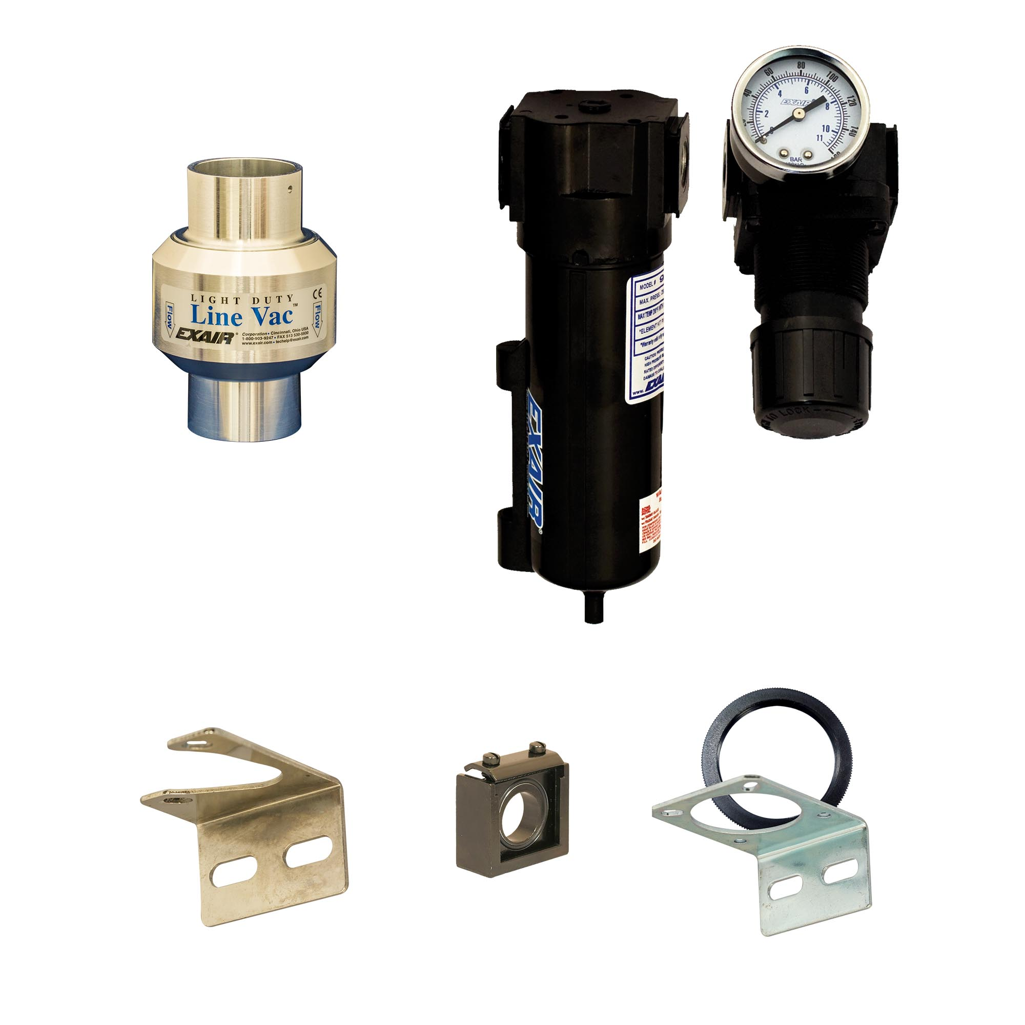 Line Vac Kits include a Line Vac, mounting bracket, filter separator and pressure regulator (with coupler).