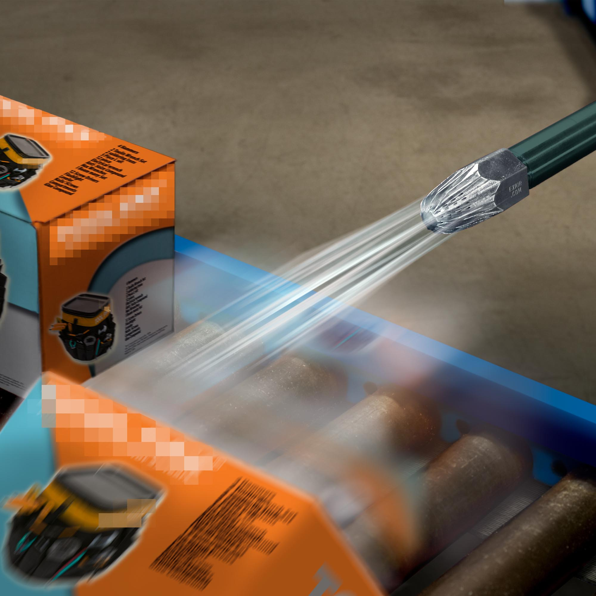 Large Super Air Nozzles provide high force values for heavy duty applications like removing products from conveyor belts