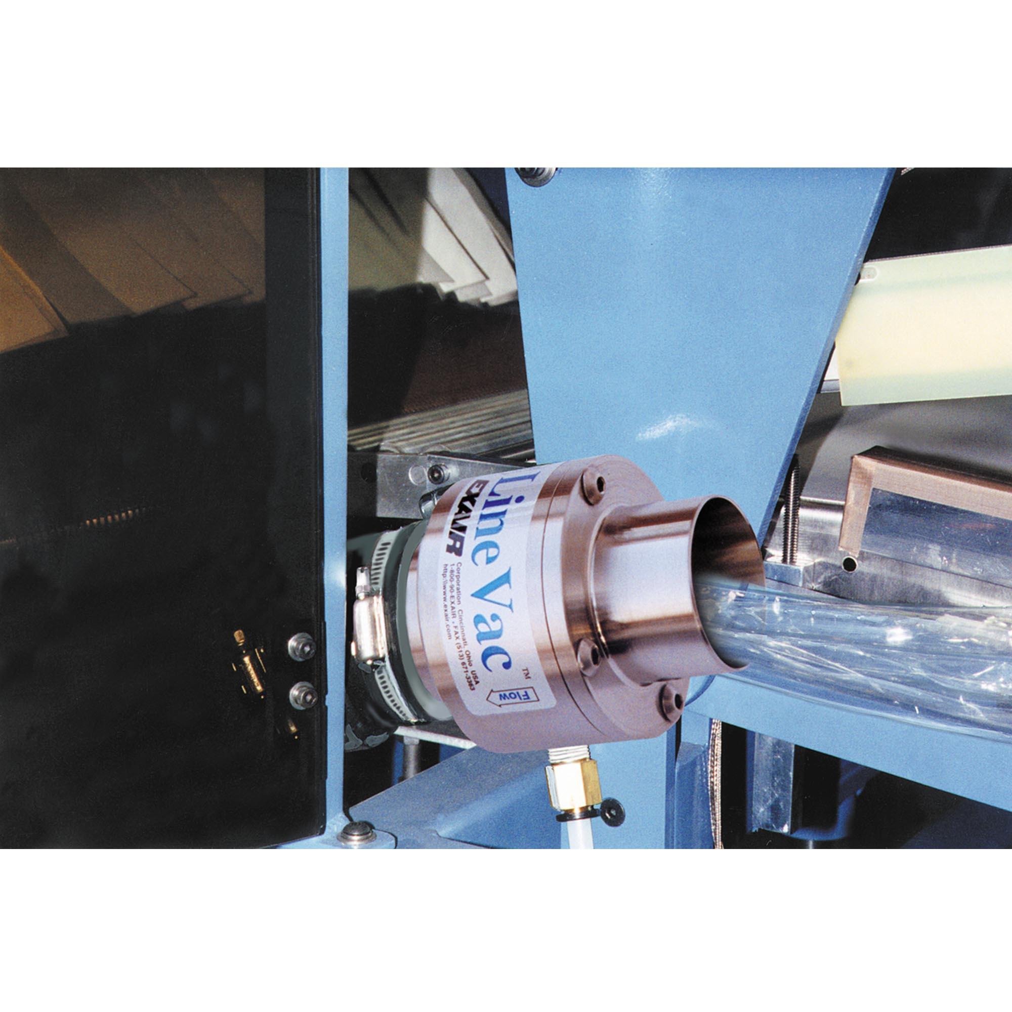 "A Model 6084 2"" (51mm) Line Vac transports scrap cellophane trim to a waste barrel."