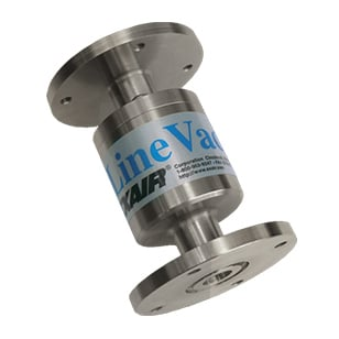 "A custom 3/4"" (19mm) Stainless Steel Line vac has a specific flange to aid fume evacuation from a silicone wafer etching operation."