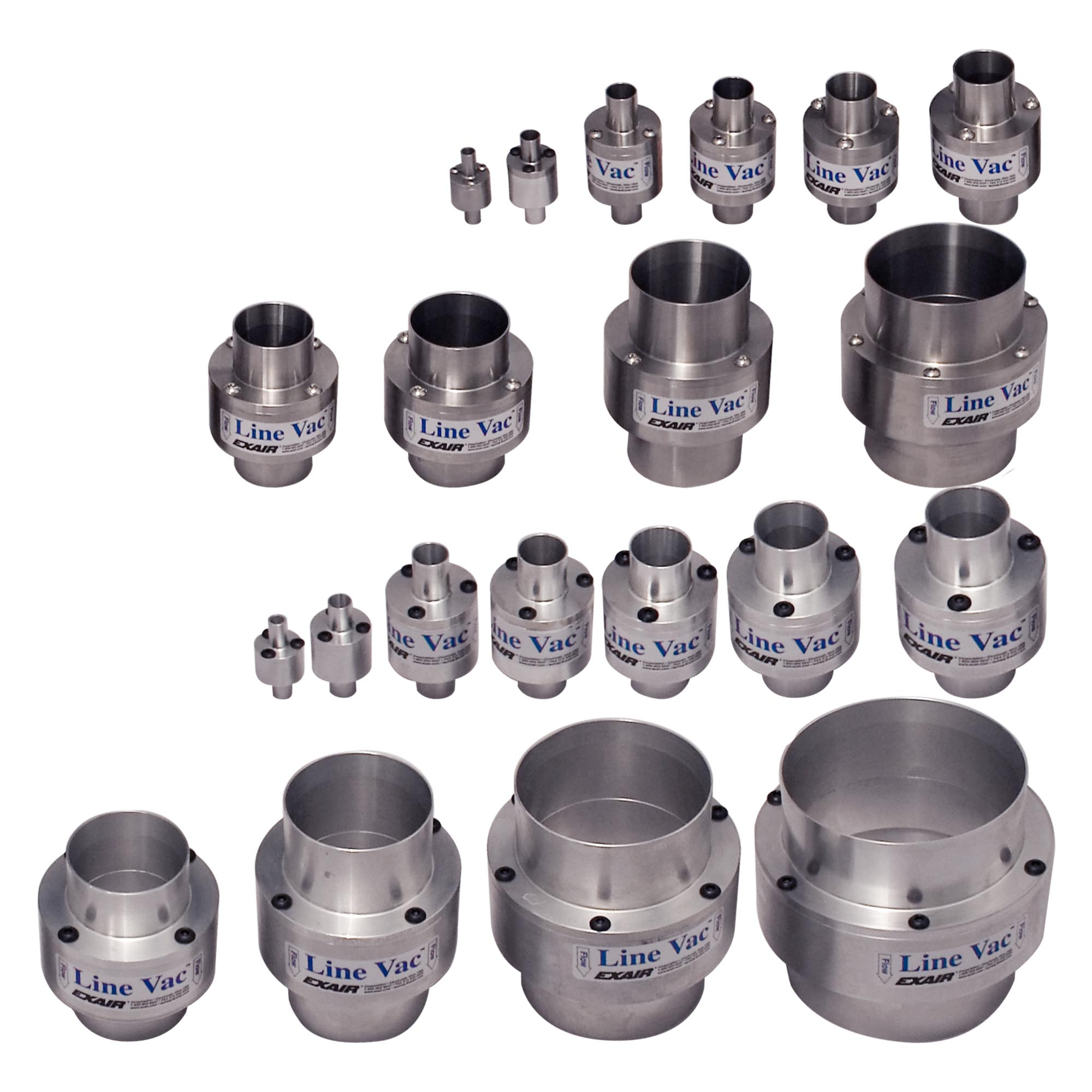 Line Vacs are available in many sizes both in aluminum and stainless steel.